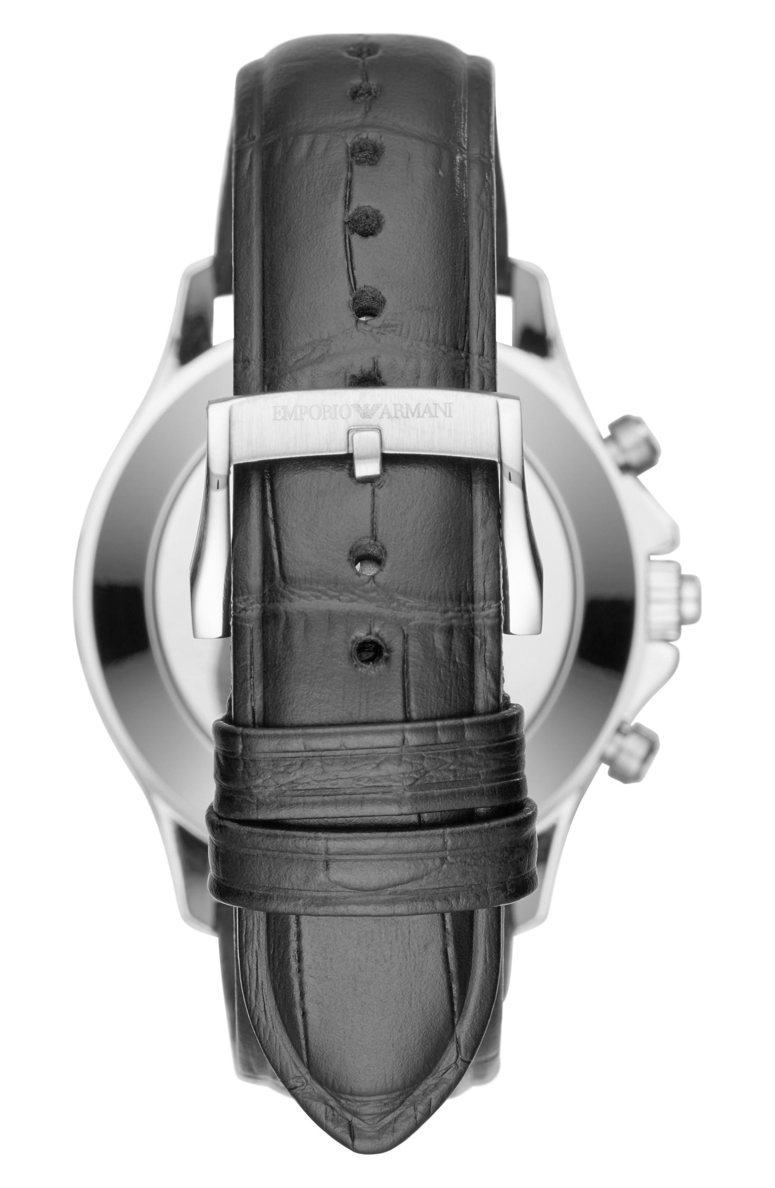 EMPORIO ARMANI,                             Leather Strap Hybrid Smartwatch, 43mm,                             Alternate thumbnail 2, color,                             001