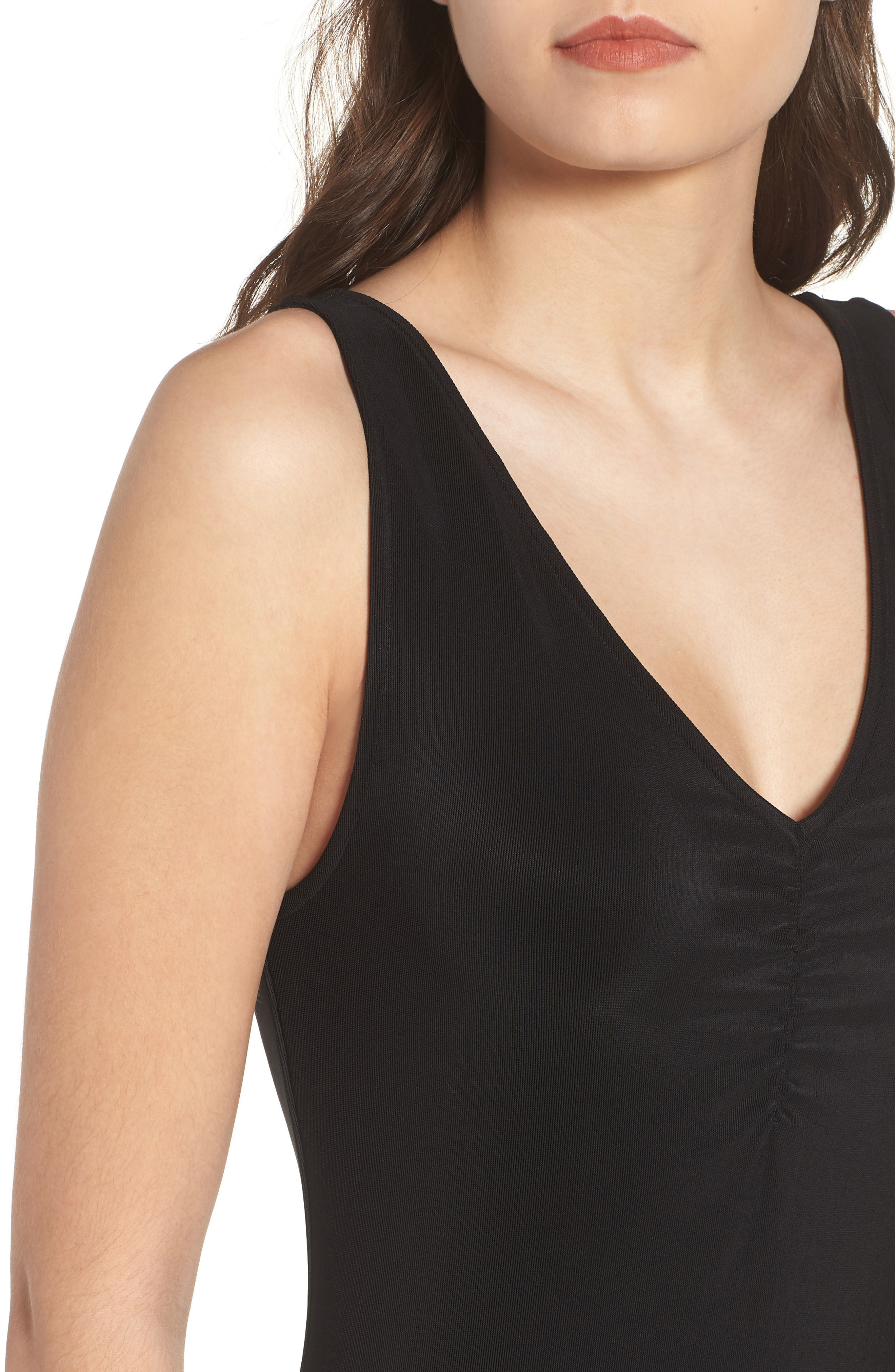 Smocked Body-Con Dress,                             Alternate thumbnail 4, color,                             001