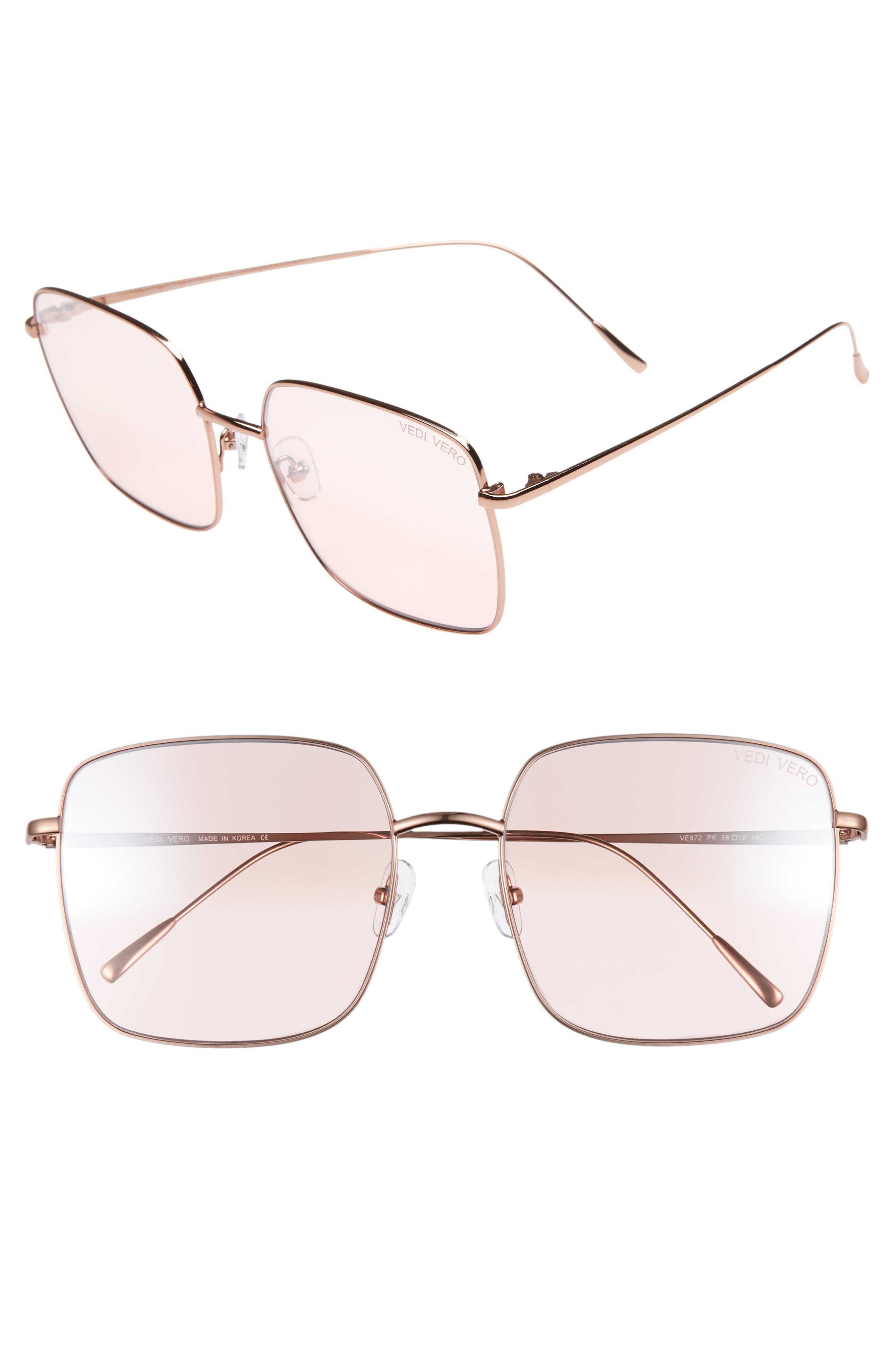 VEDI VERO 58Mm Square Sunglasses - Shiny Rose Gold