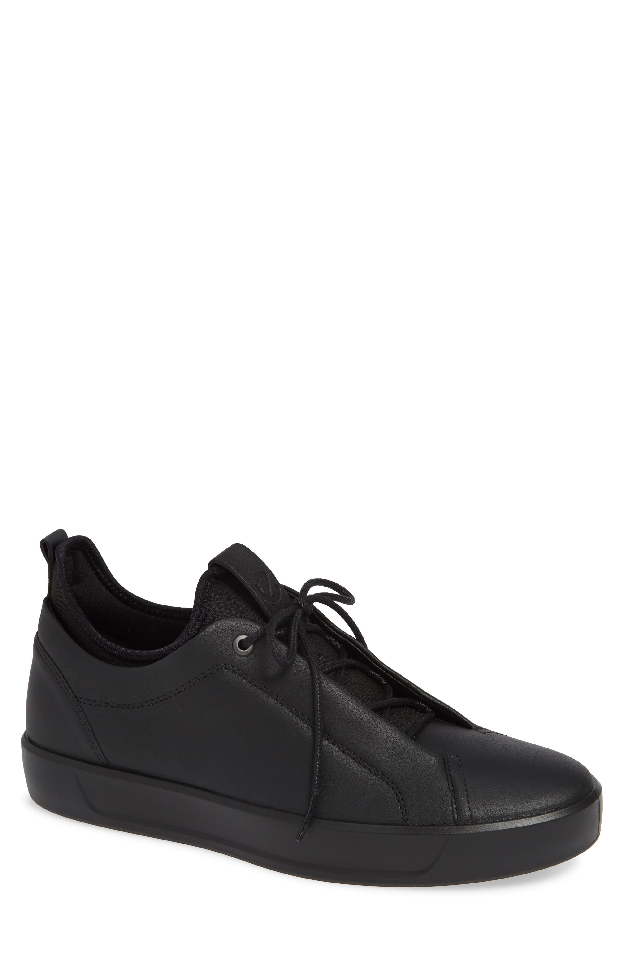 Soft 8 Low Top Sneaker,                         Main,                         color, BLACK LEATHER