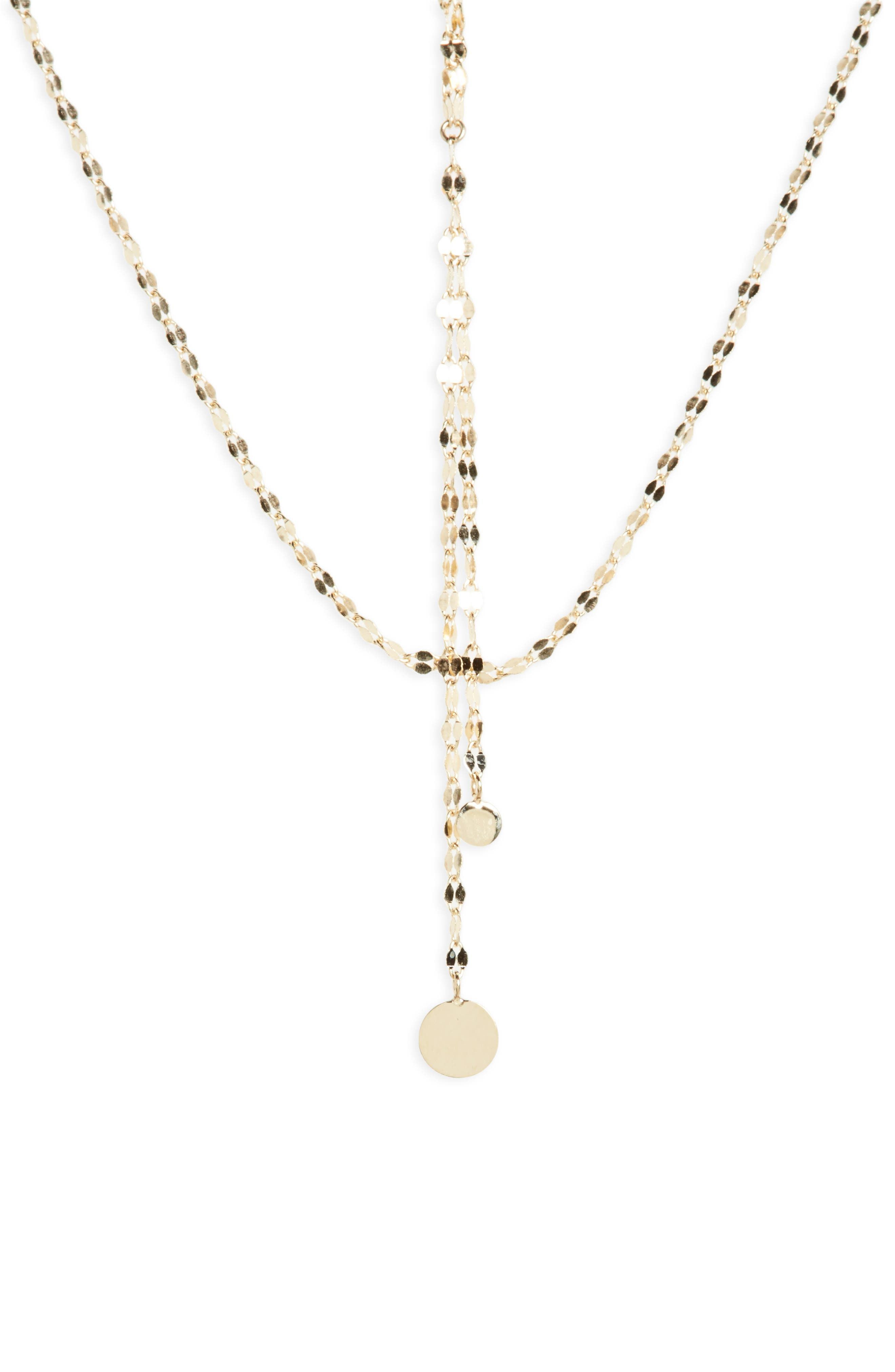 'Petite Blake' Lariat Necklace,                             Alternate thumbnail 4, color,                             YELLOW GOLD