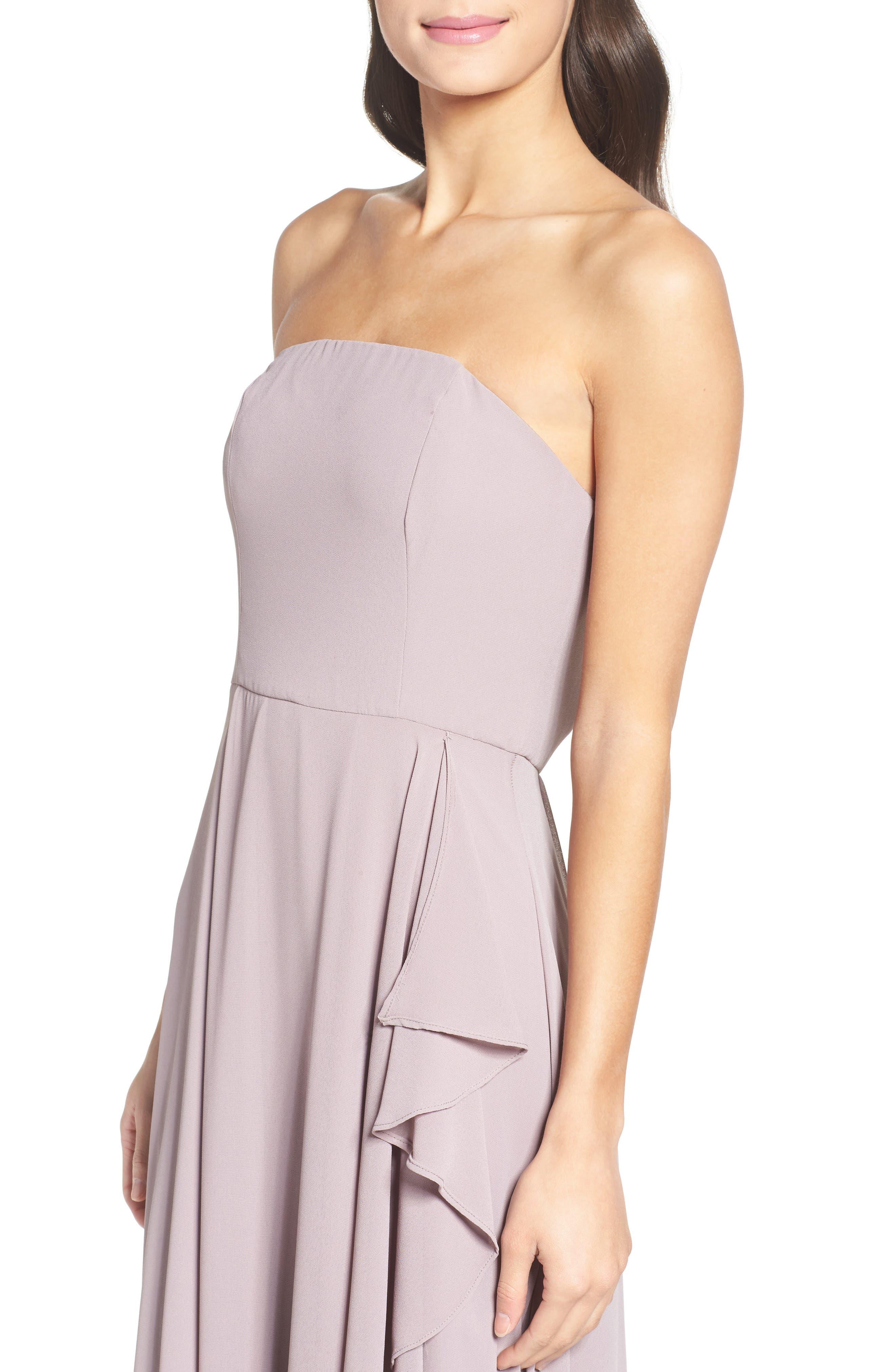 Chiffon Strapless Maxi Dress,                             Alternate thumbnail 4, color,                             020