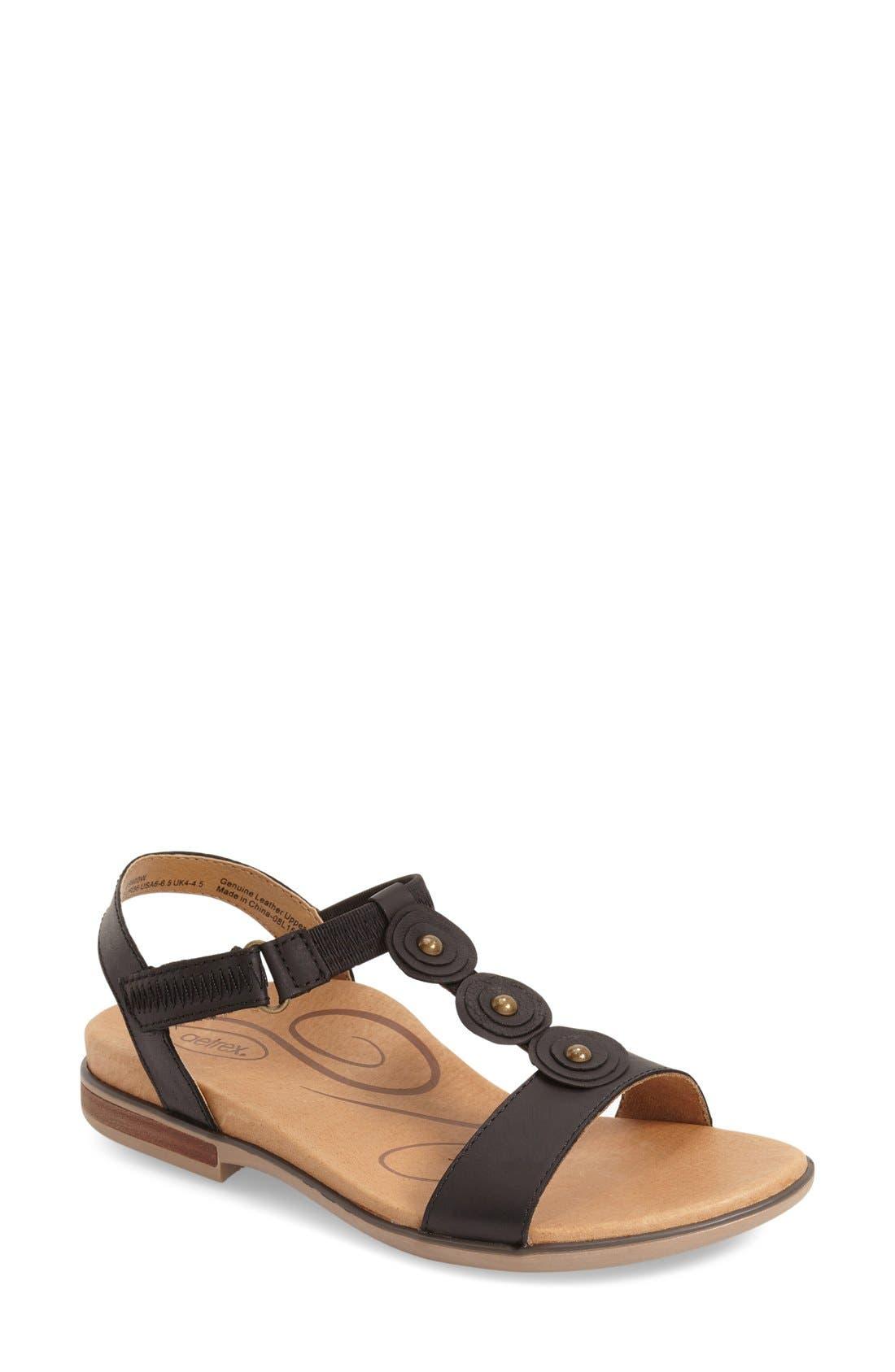 'Sharon' T-Strap Sandal,                             Main thumbnail 1, color,                             001