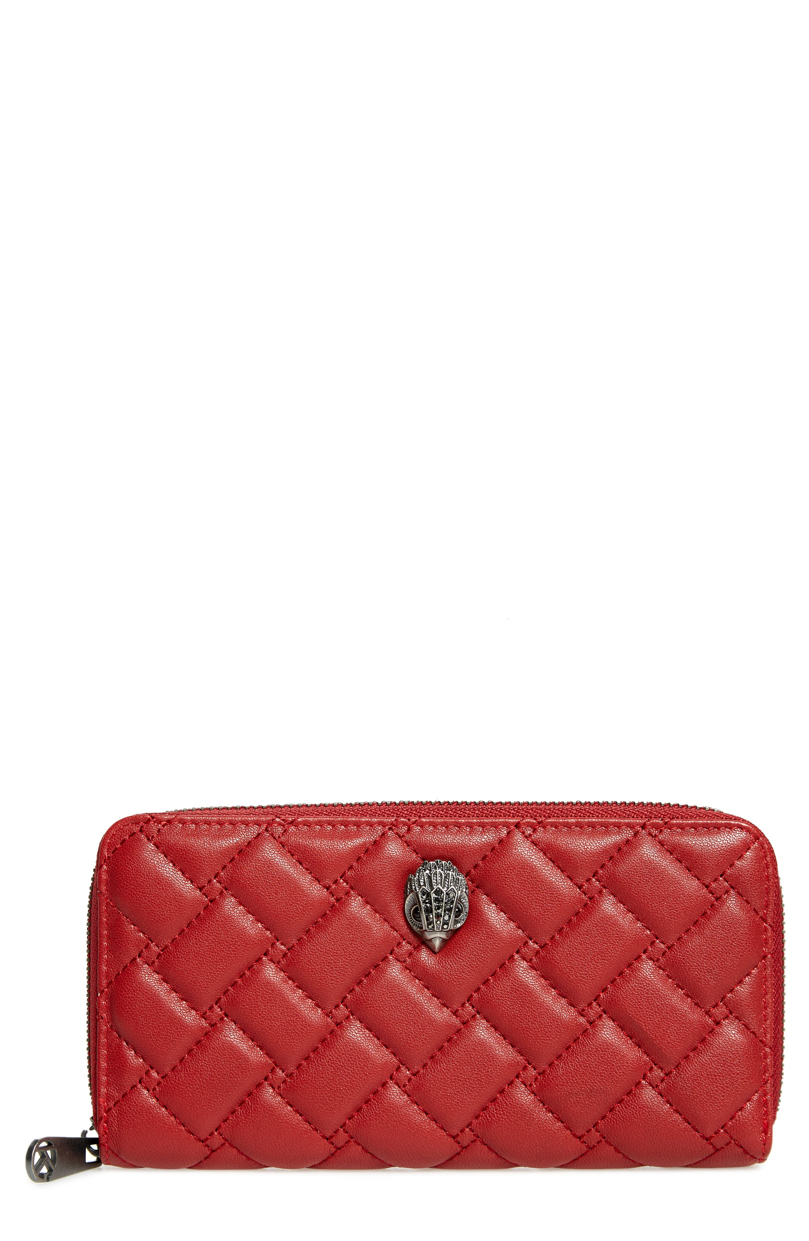 Eagle Leather Zip Around Wallet,                             Main thumbnail 1, color,                             RED
