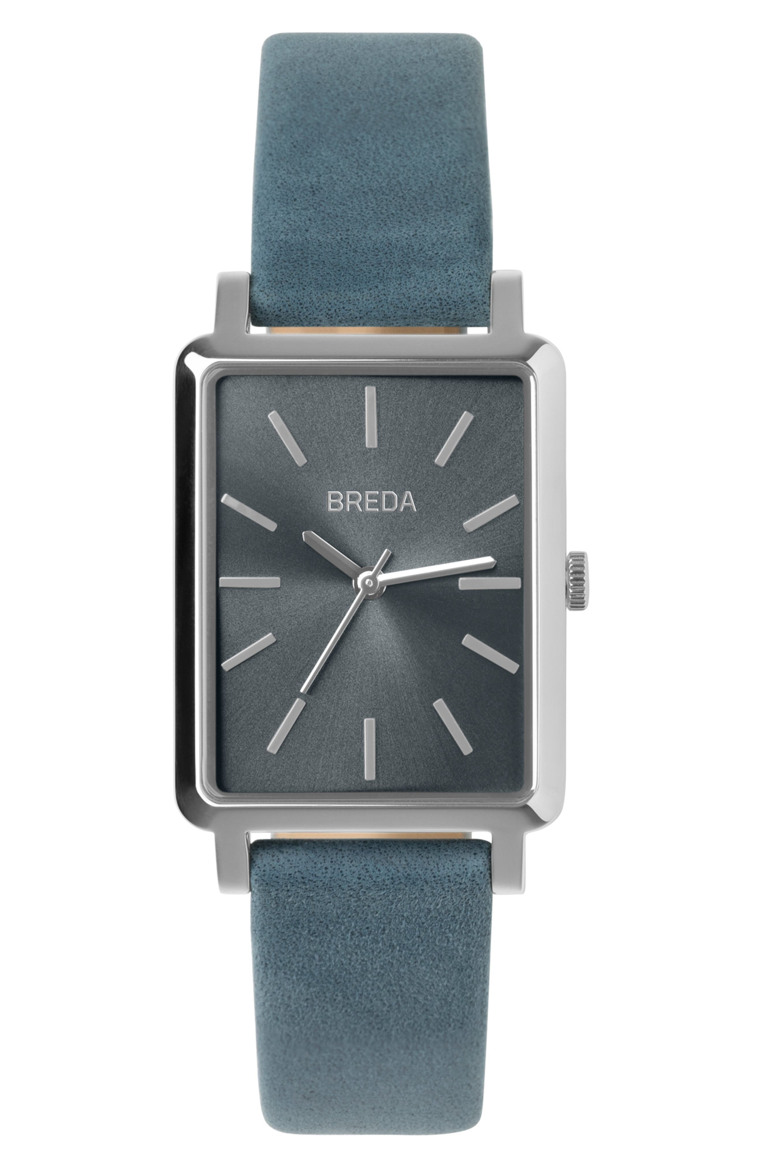 BREDA Baer Rectangular Leather Strap Watch, 26mm, Main, color, BLUE/ SILVER