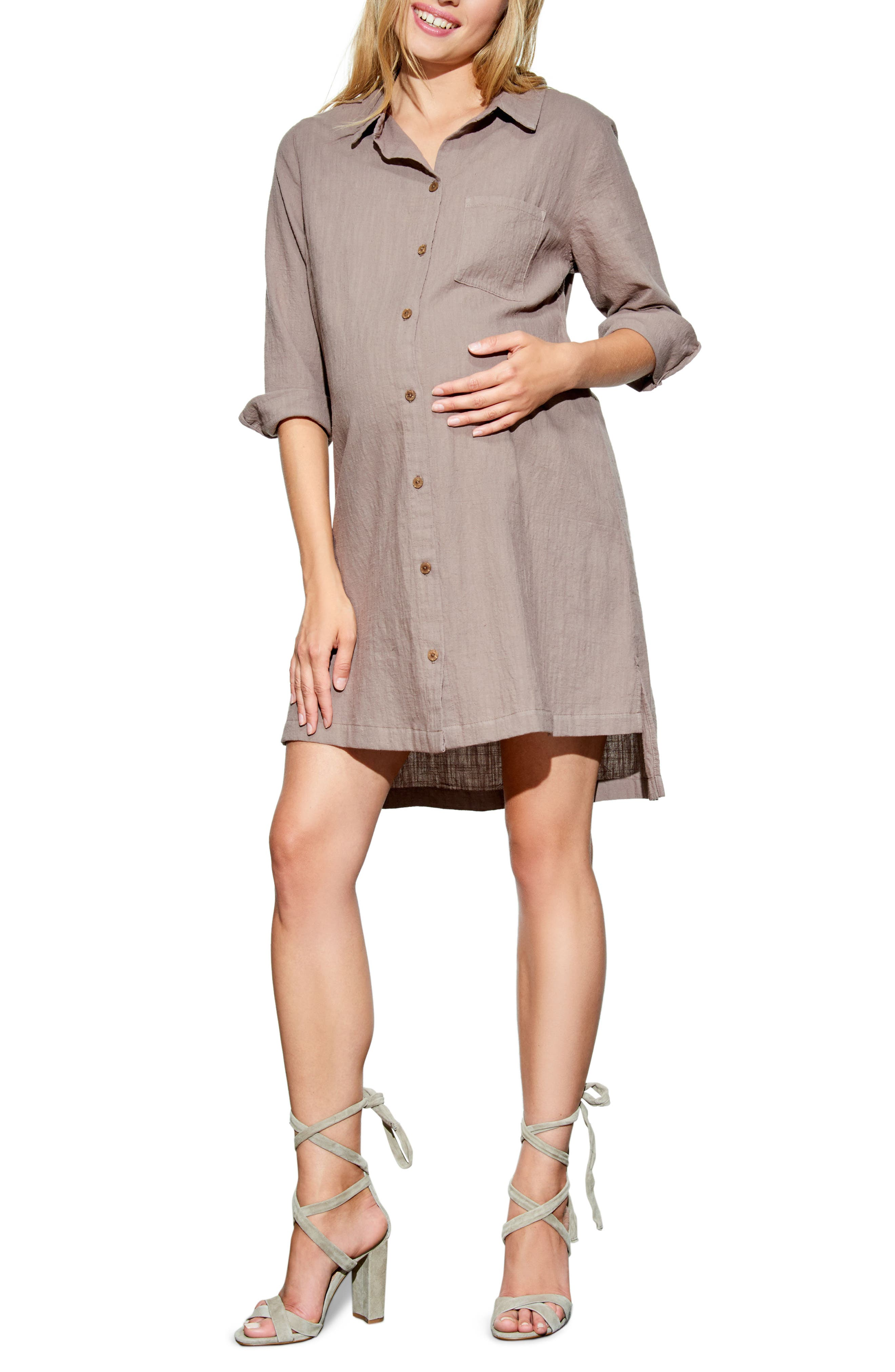 High/Low Maternity Shirtdress,                             Main thumbnail 1, color,                             TAUPE