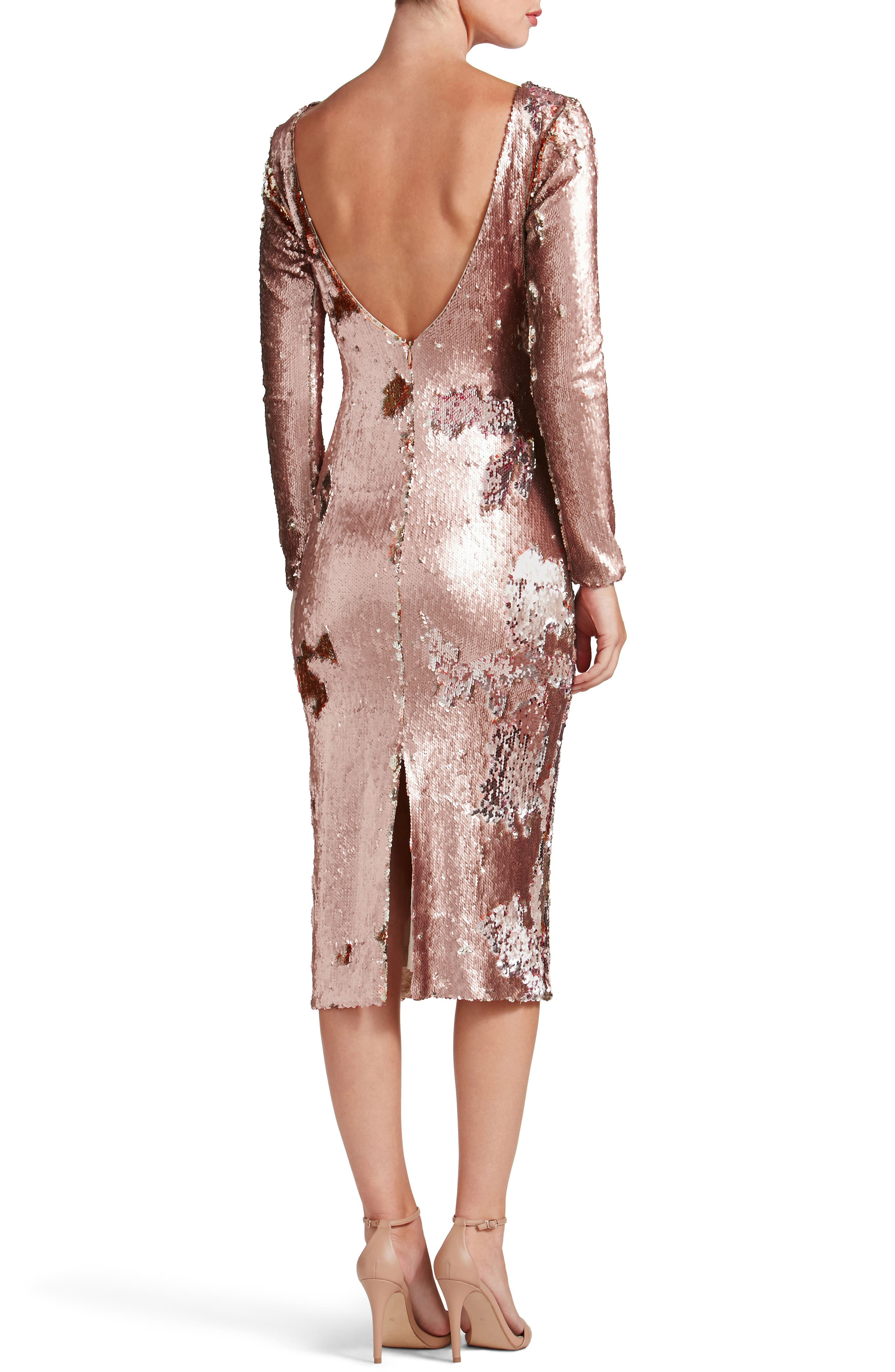 Emery Scoop Back Reversible Sequin Body-Con Dress,                             Alternate thumbnail 5, color,