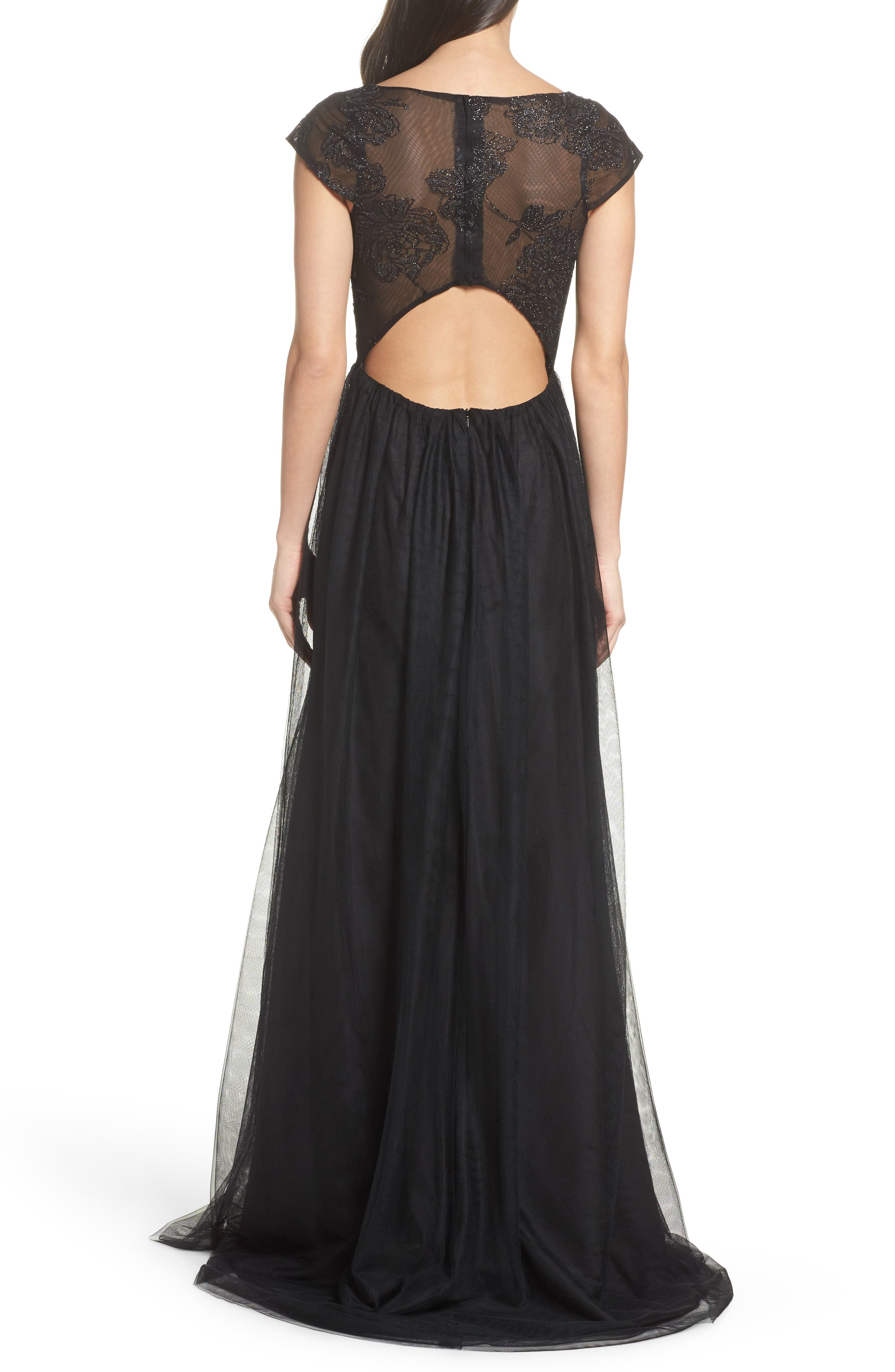 Embroidered Bodice Net Gown,                             Alternate thumbnail 2, color,                             002