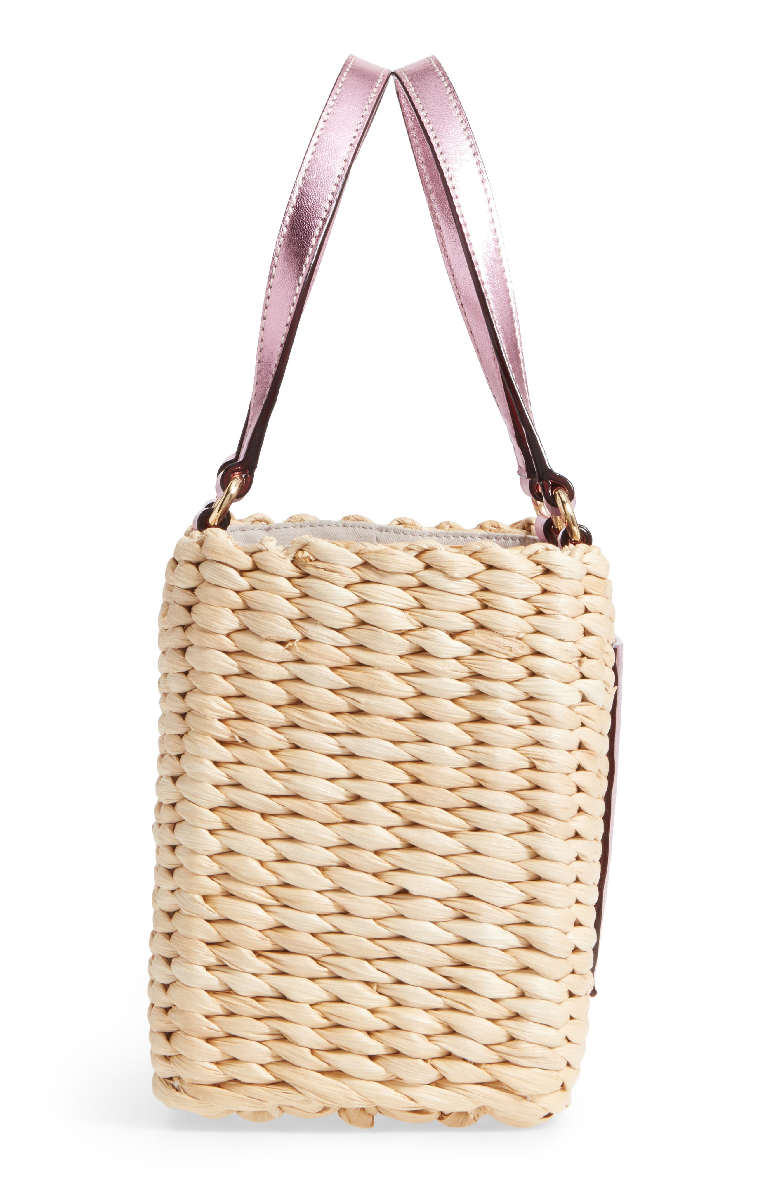 Small Woven Straw Tote,                             Alternate thumbnail 5, color,                             670