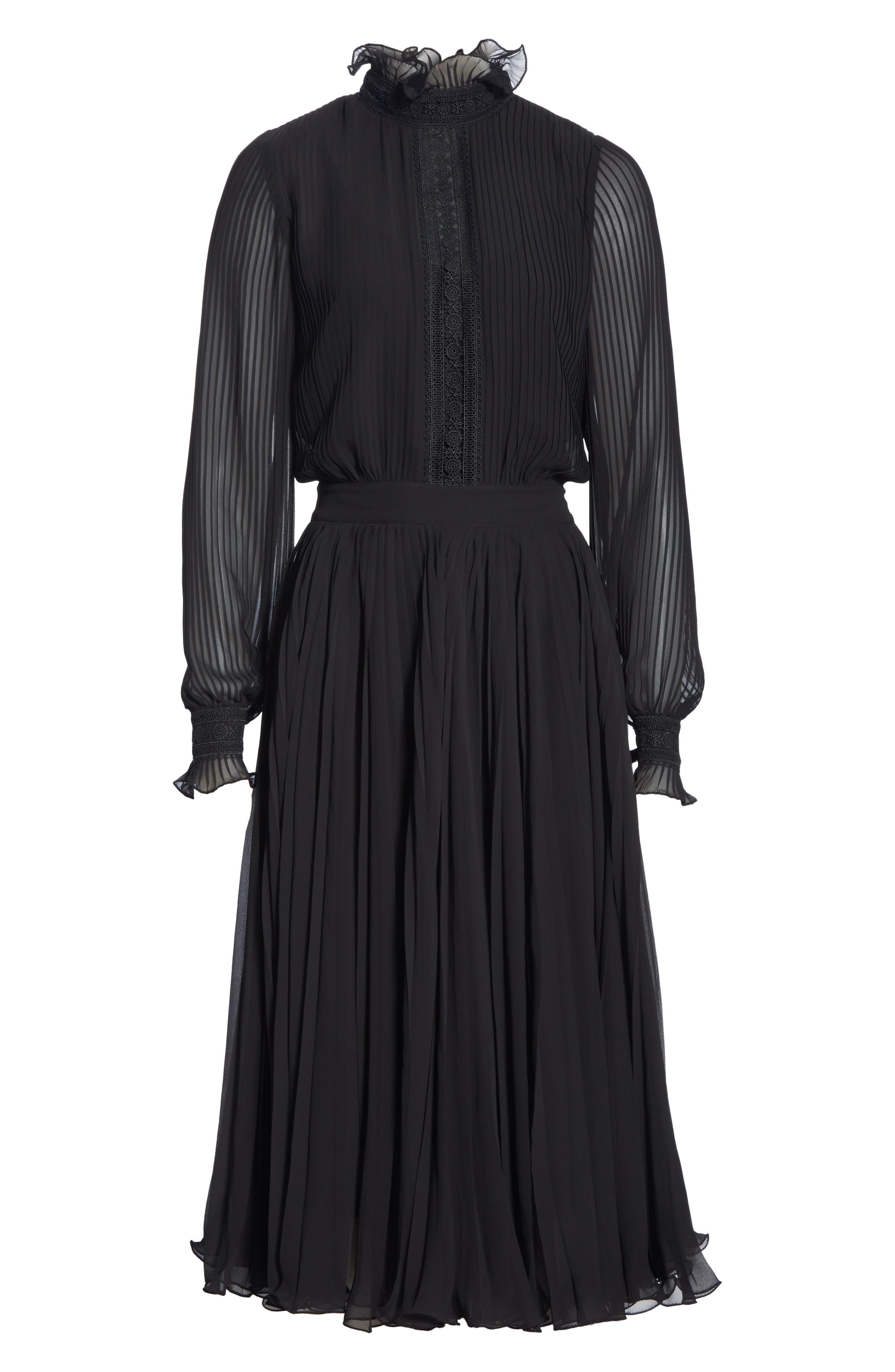 Anbele Midi Dress,                             Alternate thumbnail 6, color,                             POLO BLACK