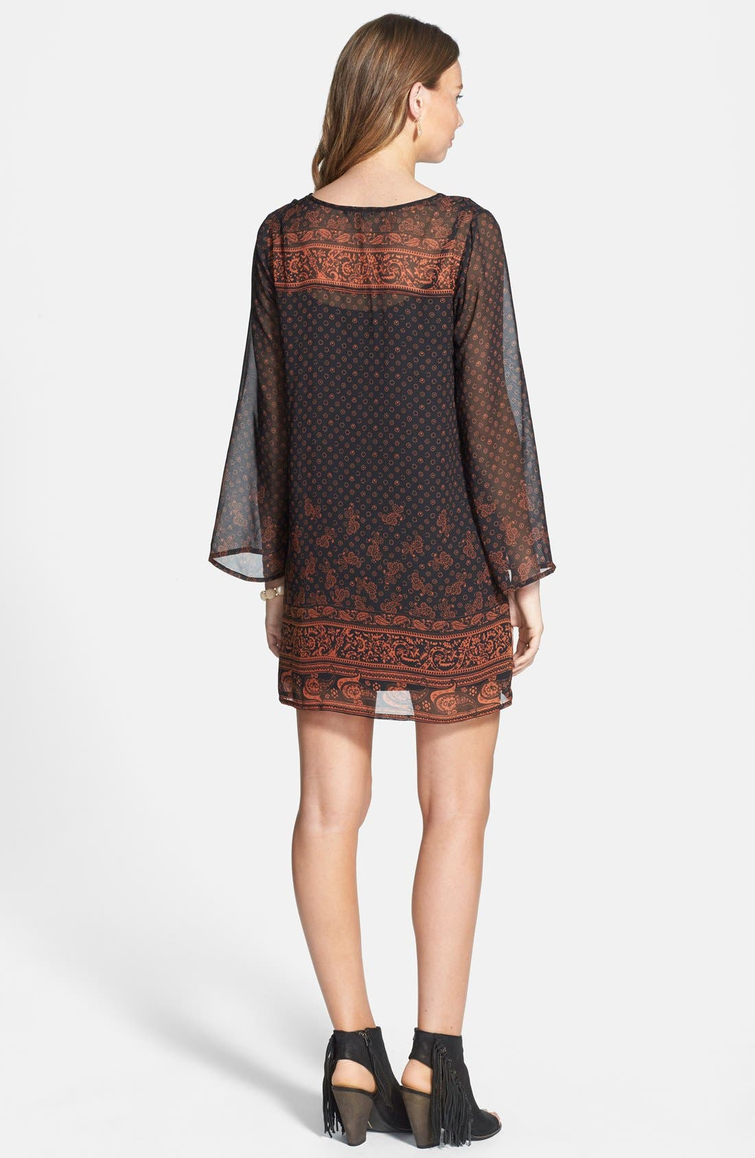 Be Bop Long Sleeve Border Print Dress,                             Alternate thumbnail 2, color,                             229