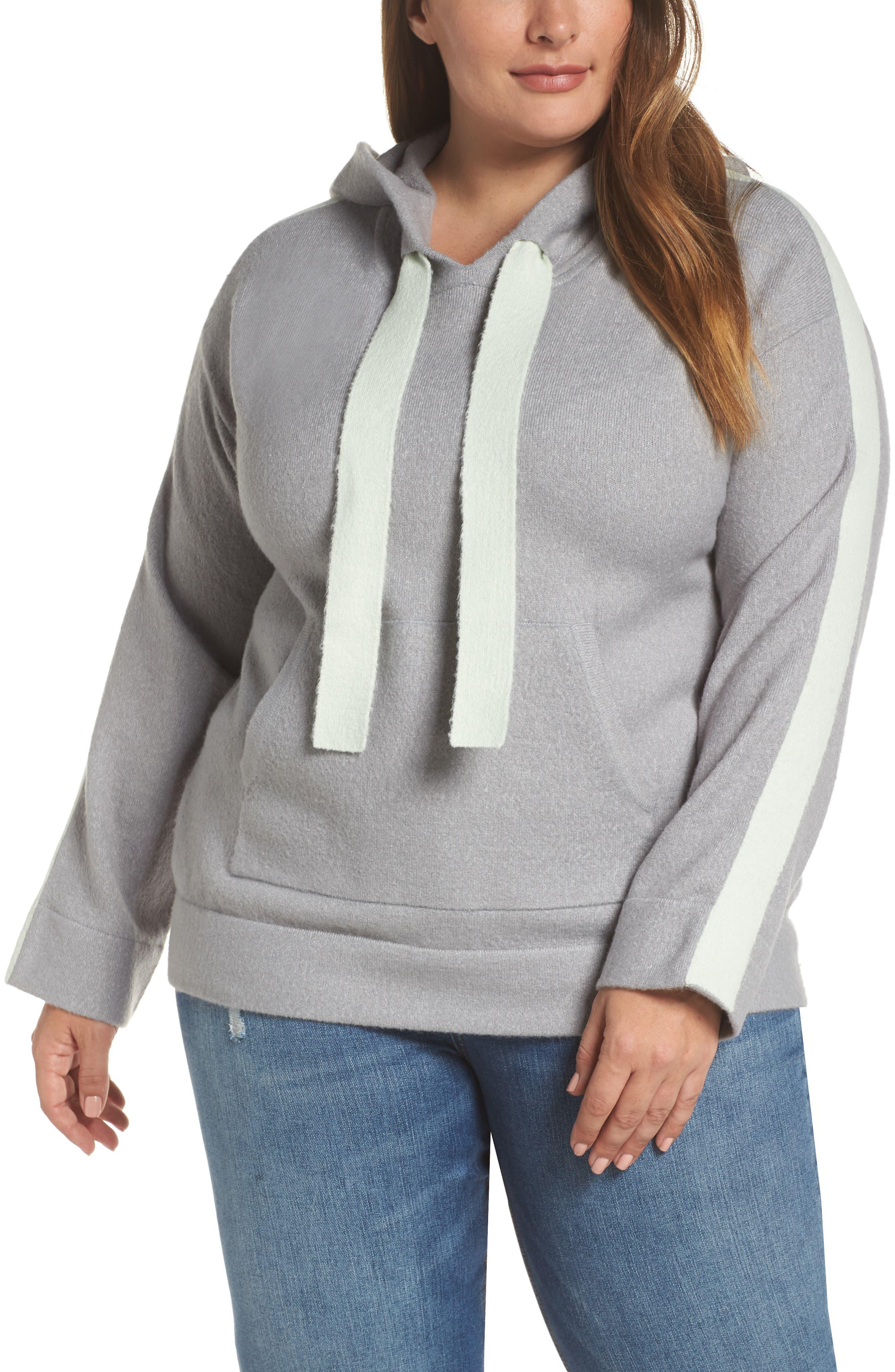 Plus Size Caslon Off Duty Hoodie Sweater, Grey
