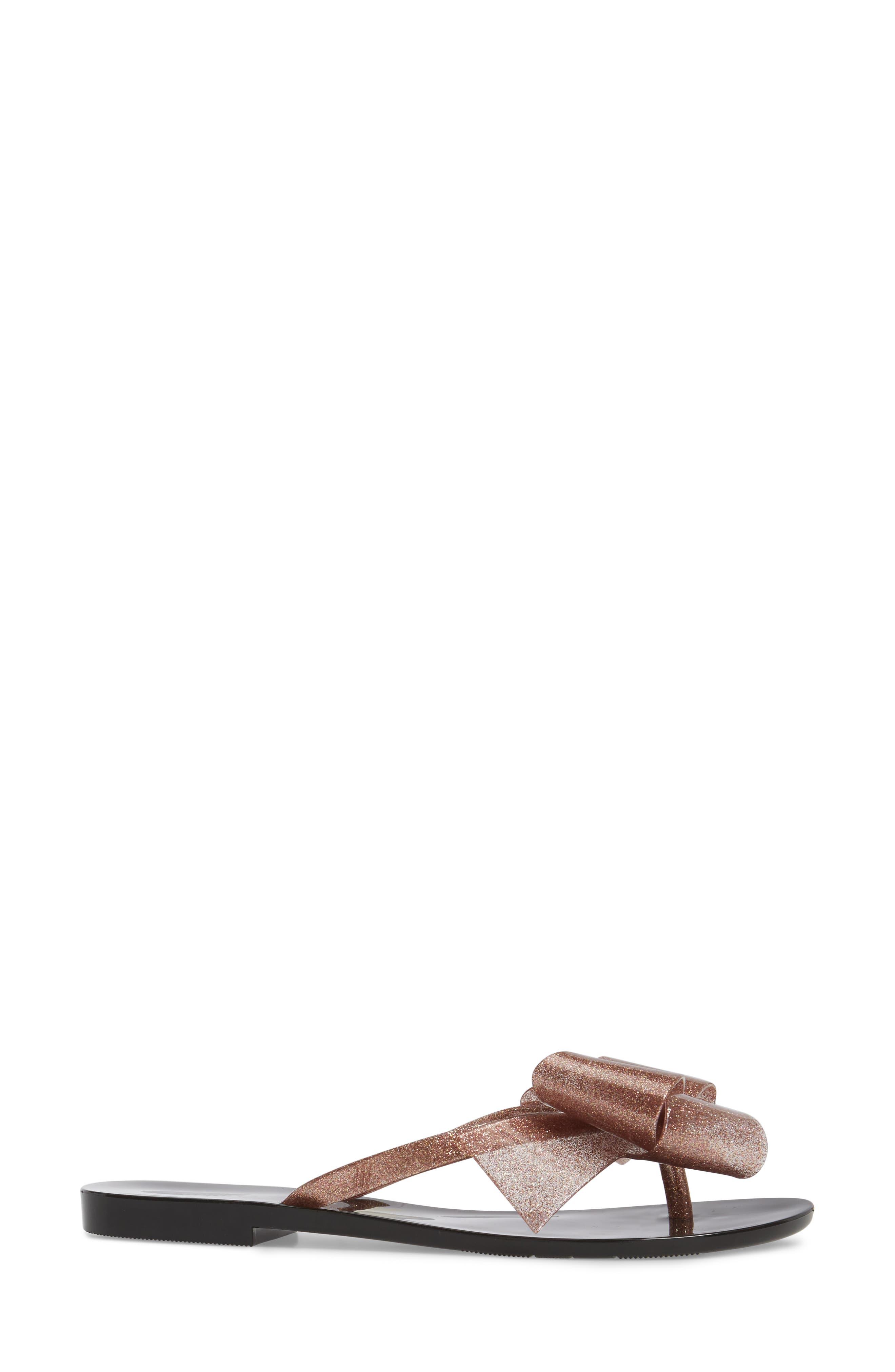 MELISSA,                             Harmonic Bow III Flip Flop,                             Alternate thumbnail 3, color,                             BLACK ROSE GLITTER