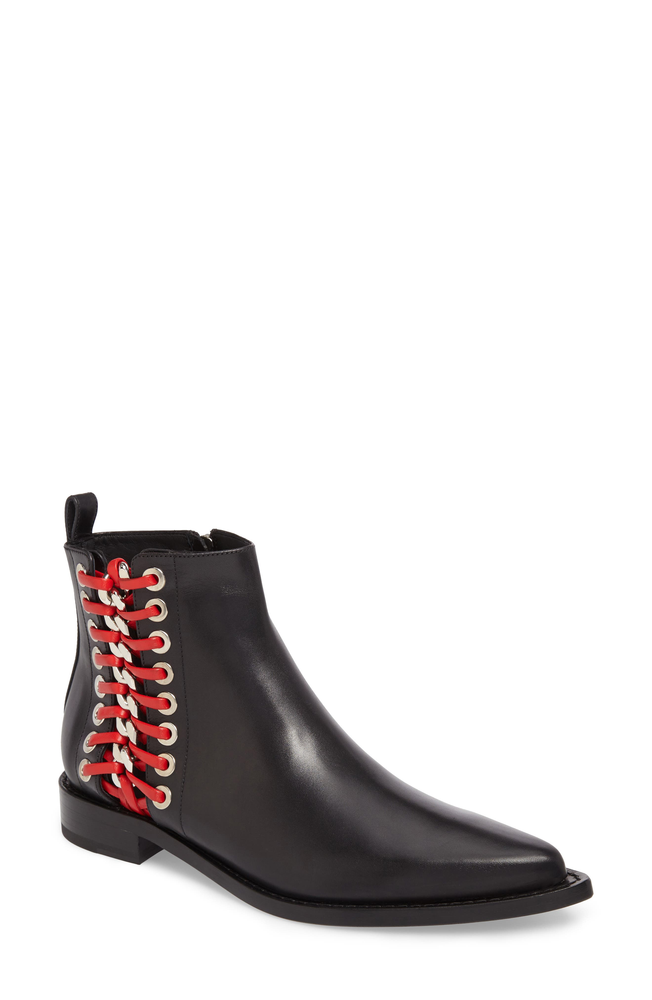 Laced Chain Pointy Toe Boot,                             Main thumbnail 1, color,                             007
