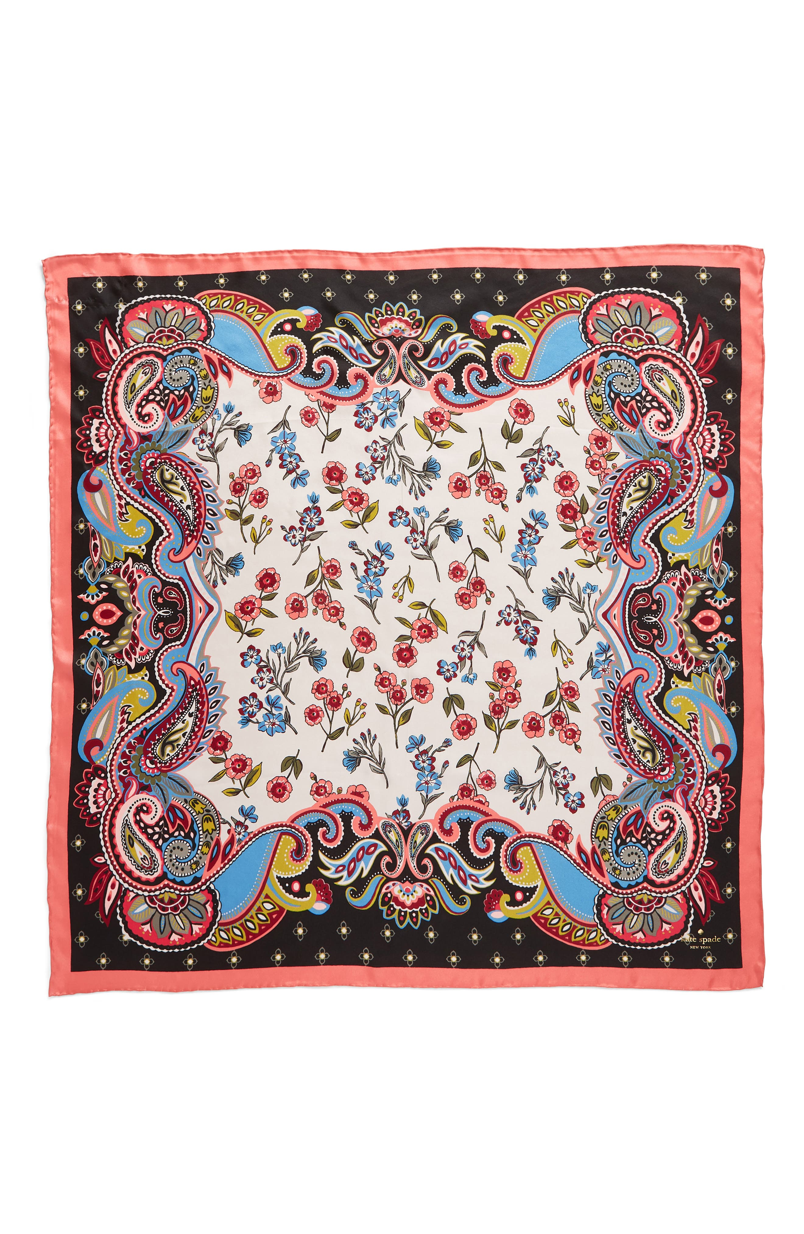 framed meadow silk square scarf,                             Alternate thumbnail 3, color,                             BLACK