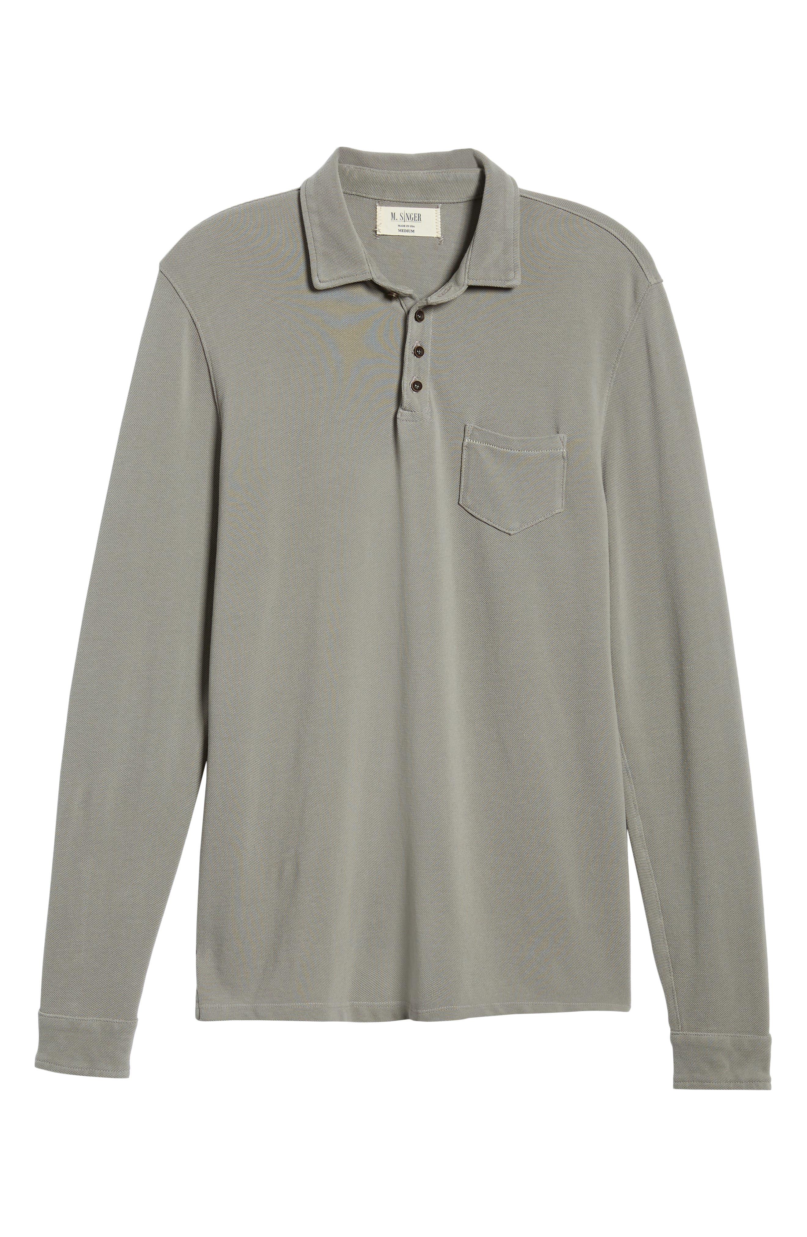 Regular Fit Long Sleeve Piqué Polo,                             Alternate thumbnail 6, color,                             GREY