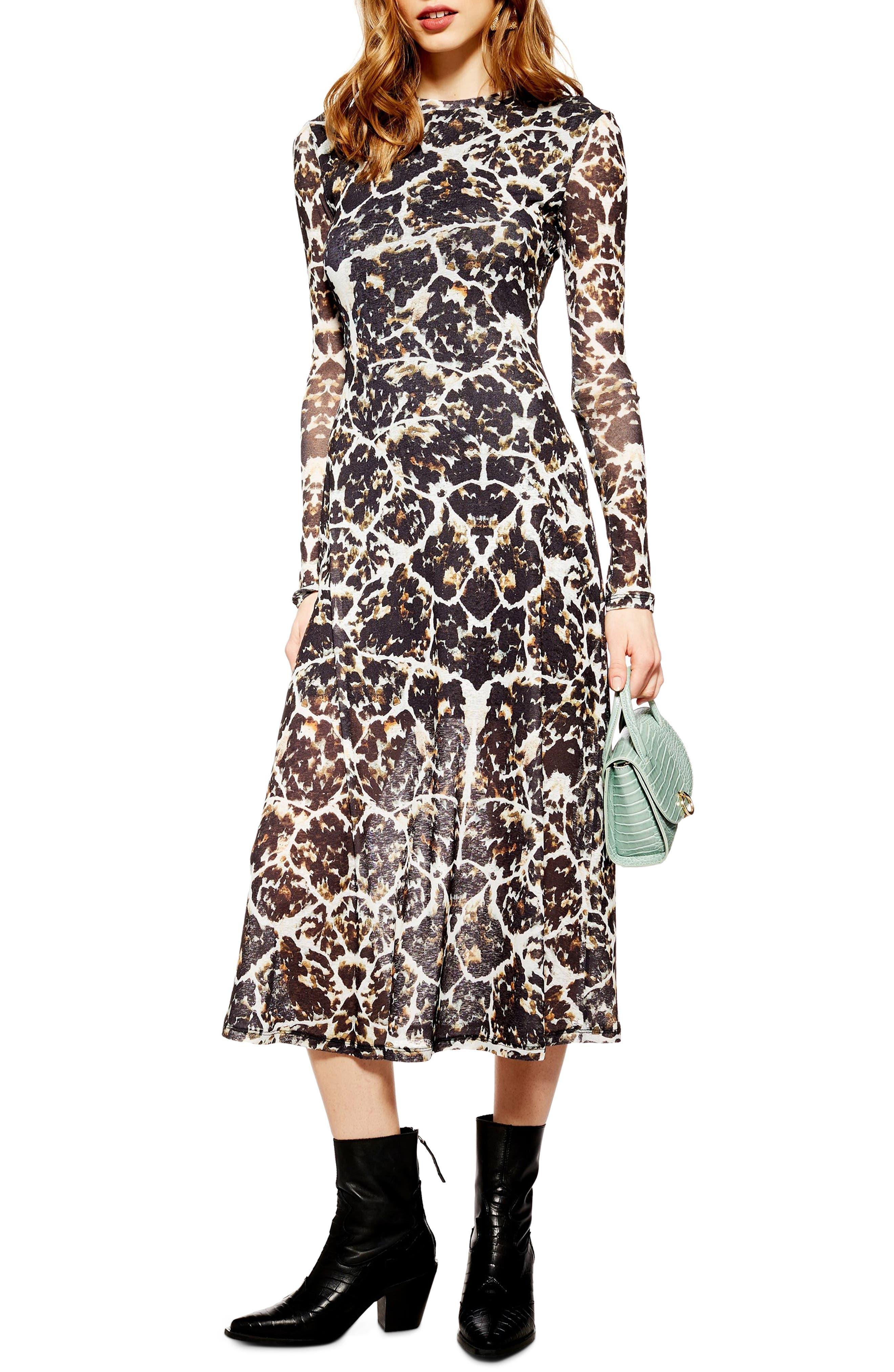 Topshop Tortoiseshell Long Sleeve Mesh Midi Dress