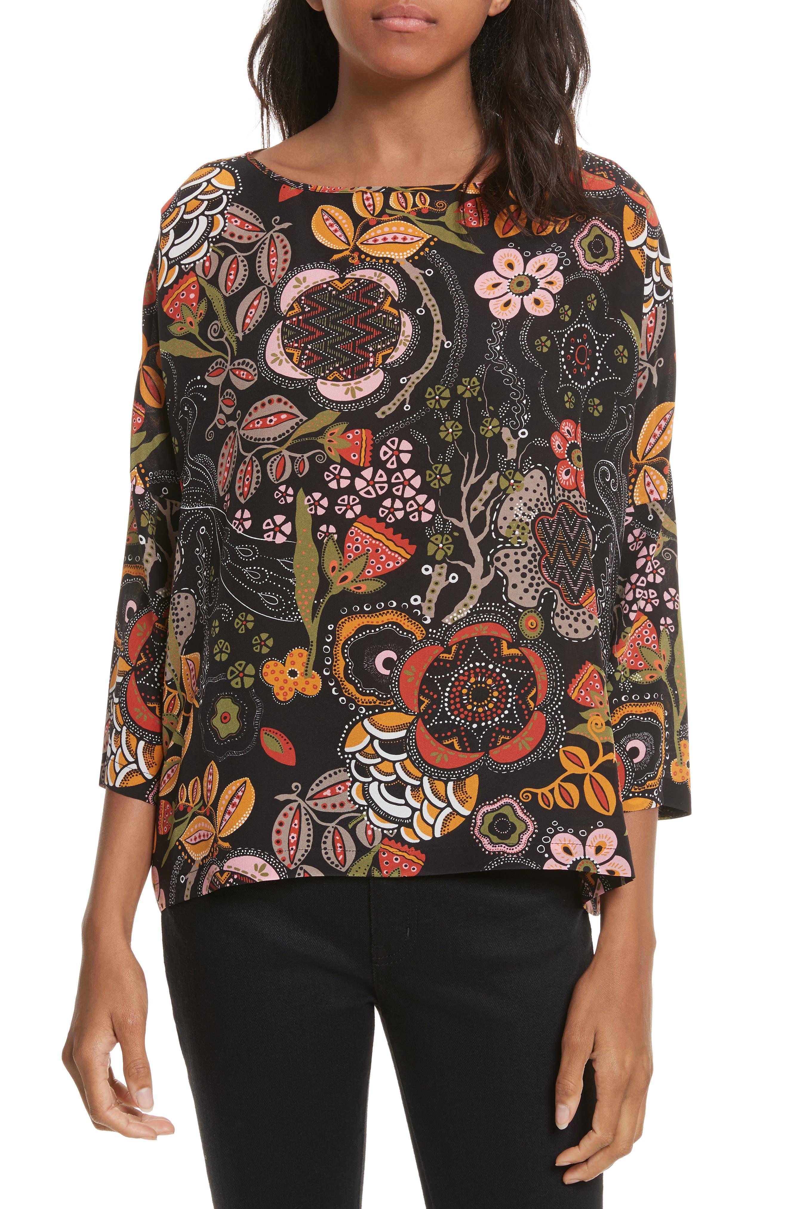 Zigzag Floral Silk Top,                             Main thumbnail 1, color,                             001
