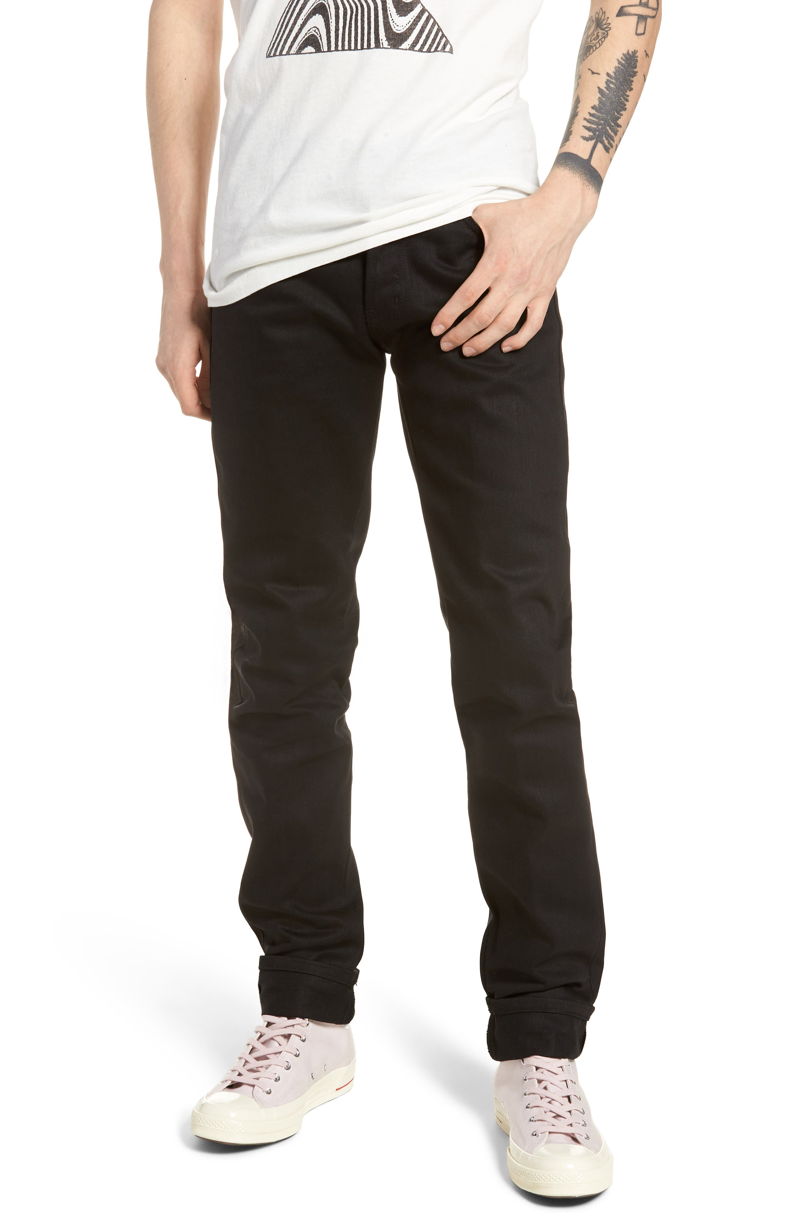 Naked & Famous Super Skinny Guy Skinny Fit Jeans,                         Main,                         color, SOLID BLACK SELVEDGE