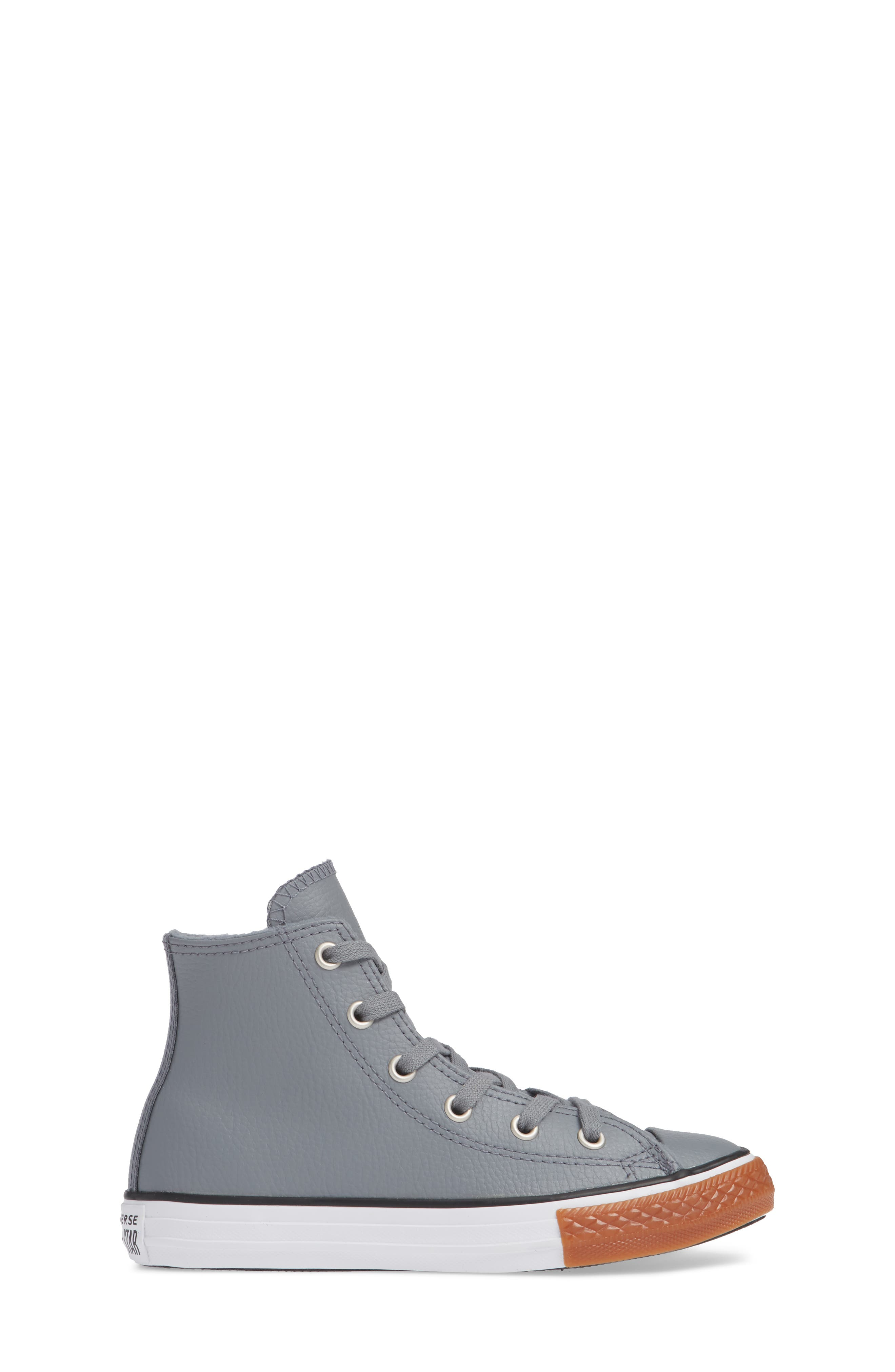 Chuck Taylor<sup>®</sup> All Star<sup>®</sup> No Gum In Class Leather High Top Sneaker,                             Alternate thumbnail 3, color,                             COOL GREY
