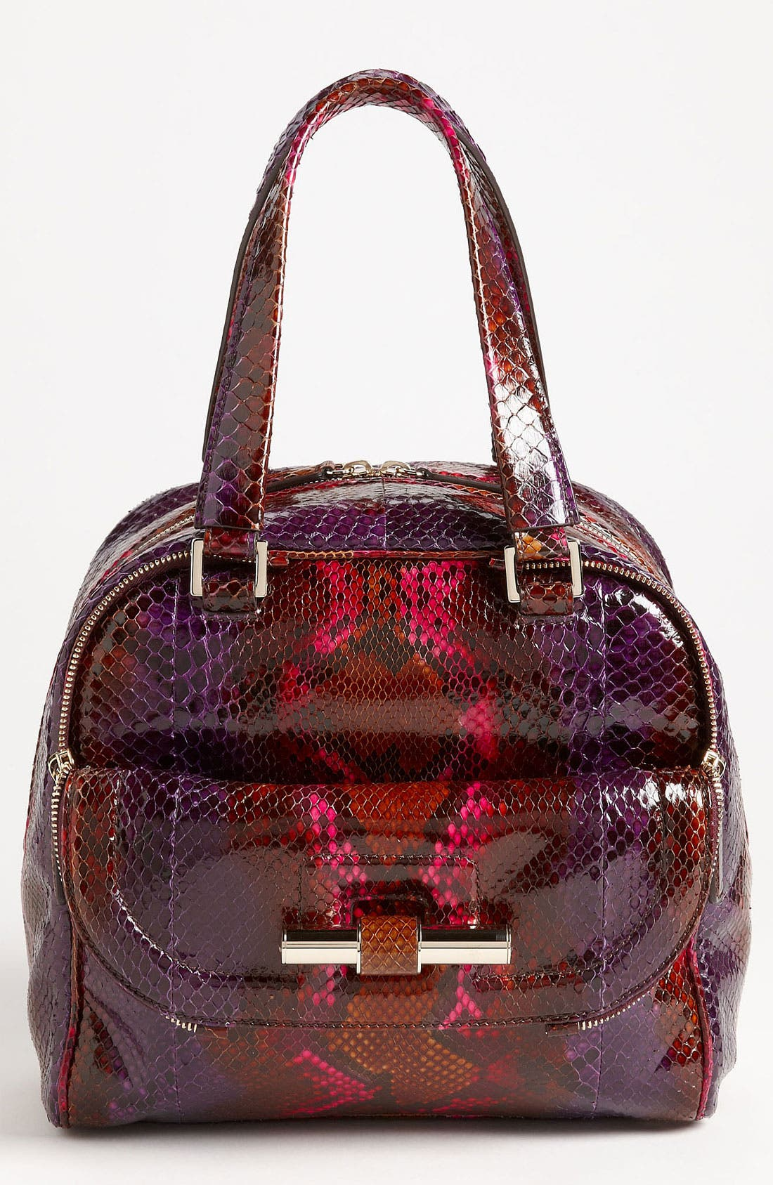 JIMMY CHOO,                             'Justine - Small' Genuine Python Satchel,                             Main thumbnail 1, color,                             500
