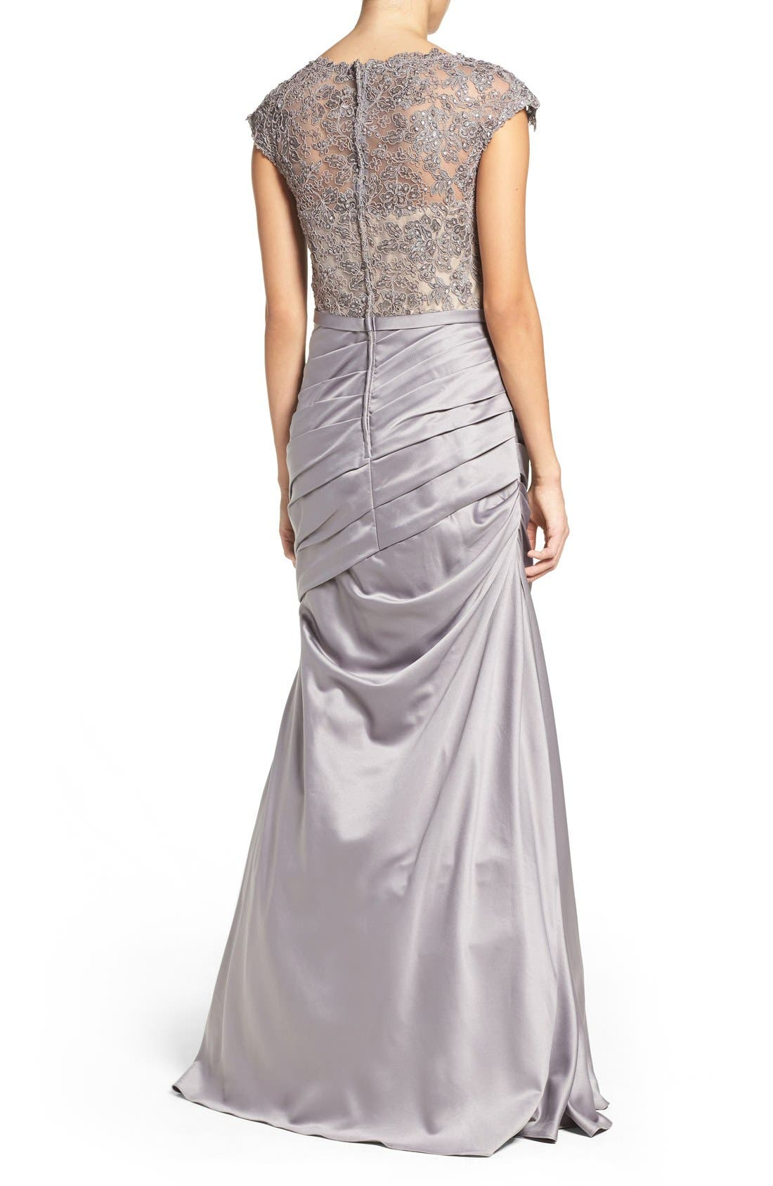Embellished Lace & Satin Mermaid Gown,                             Alternate thumbnail 3, color,                             SILVER