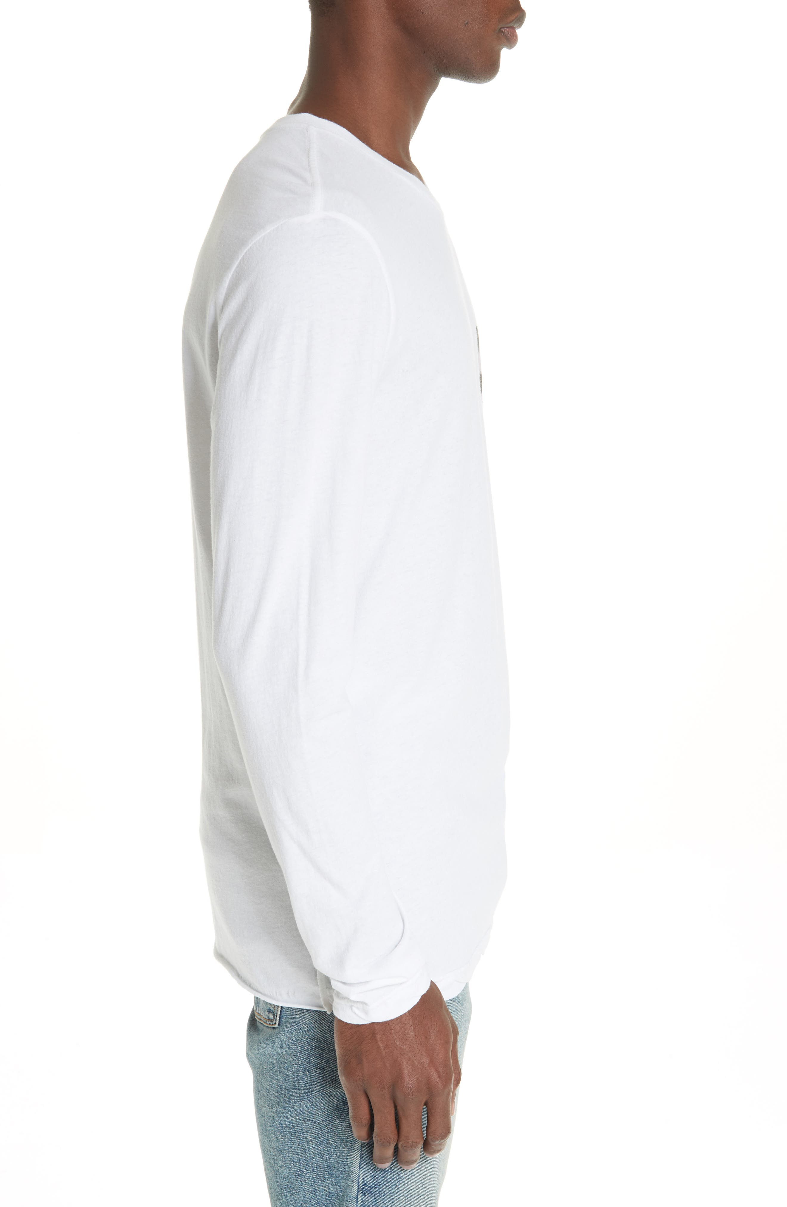No Bomb Graphic Long Sleeve T-Shirt,                             Alternate thumbnail 3, color,                             WHITE