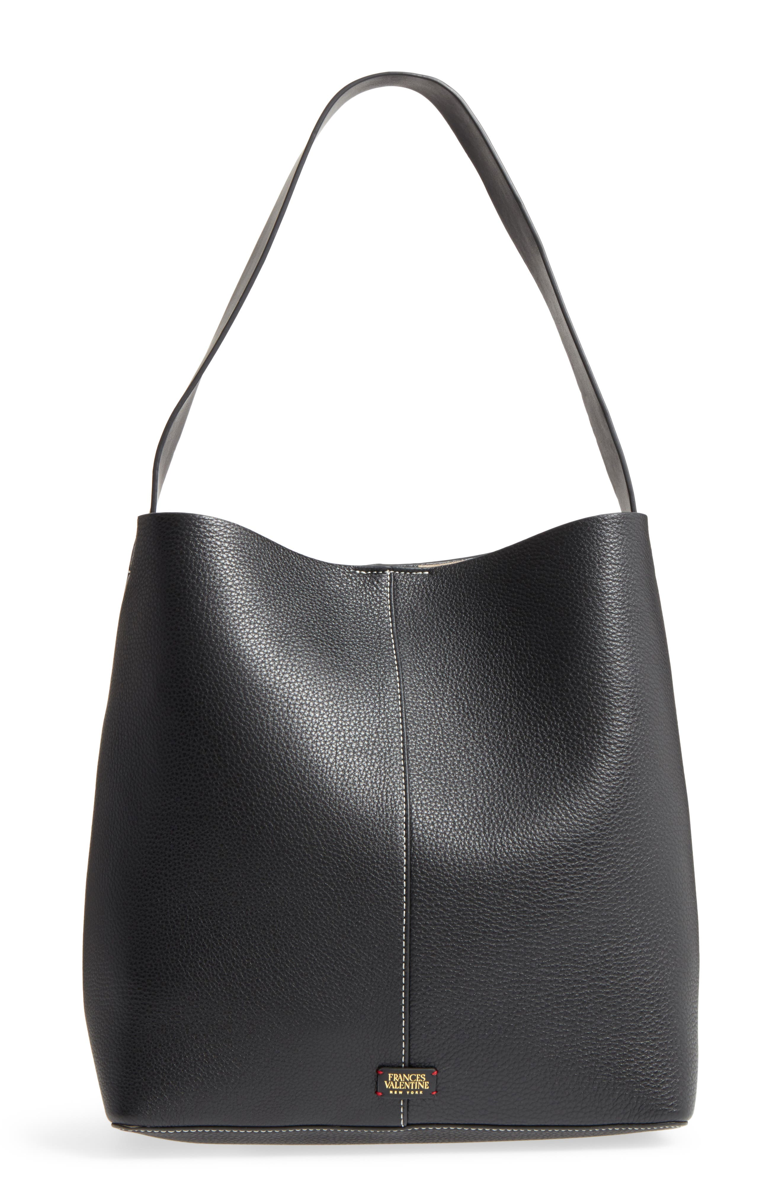 Large Leather Shoulder Bag,                             Main thumbnail 1, color,                             001