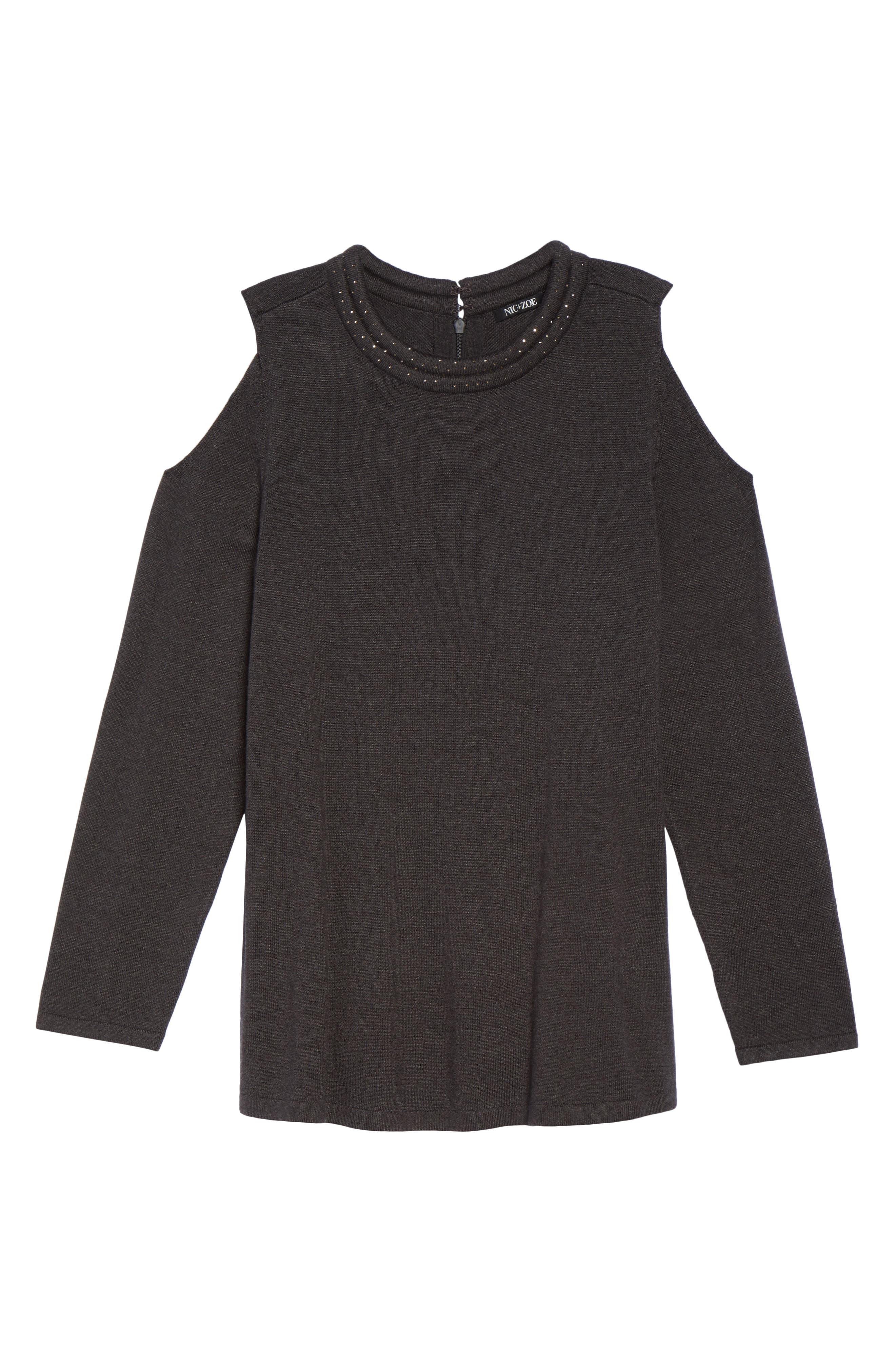 Jeweled Neck Cold Shoulder Sweater,                             Alternate thumbnail 6, color,