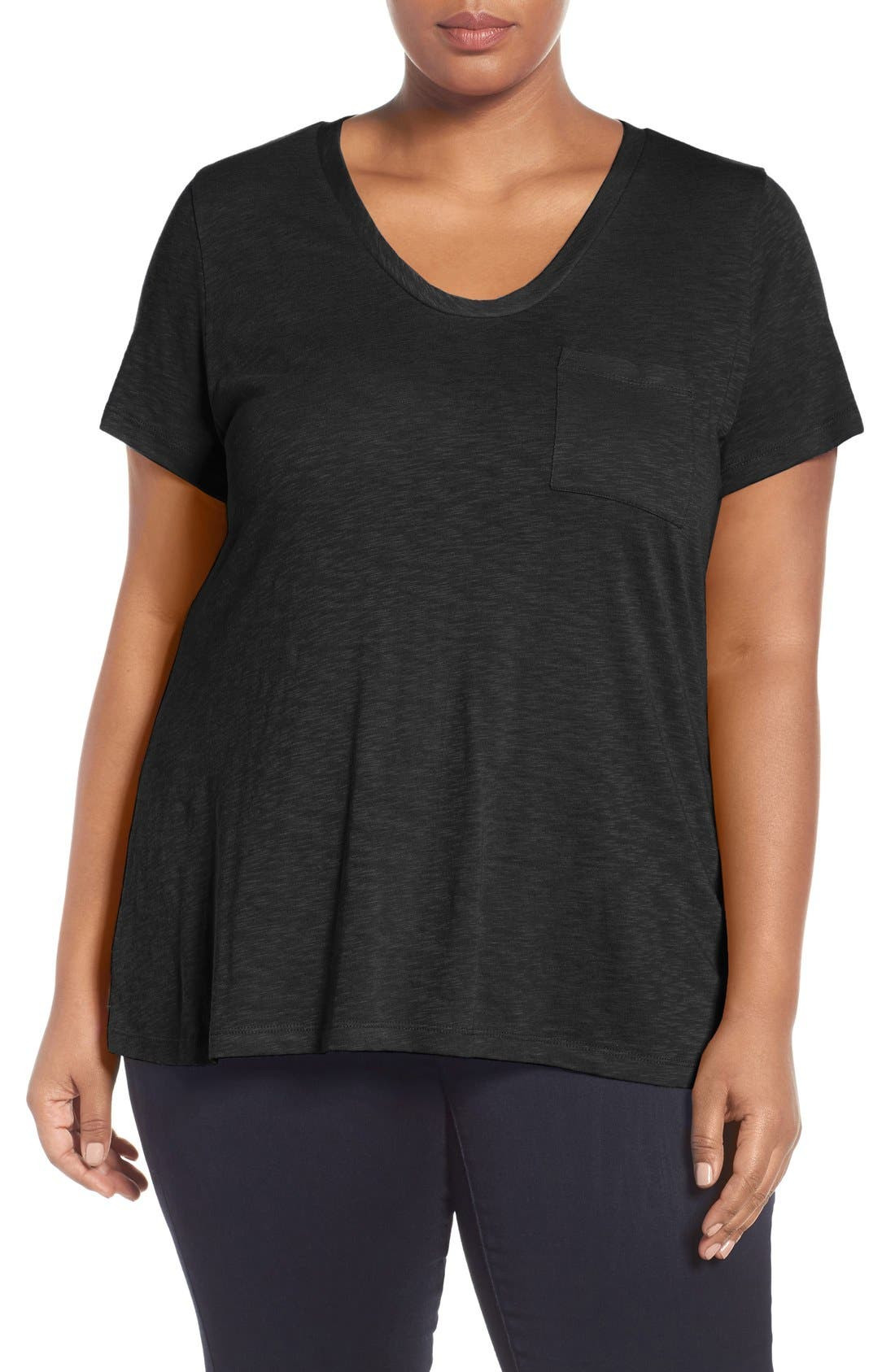 Rounded V-Neck Tee,                             Main thumbnail 1, color,                             001