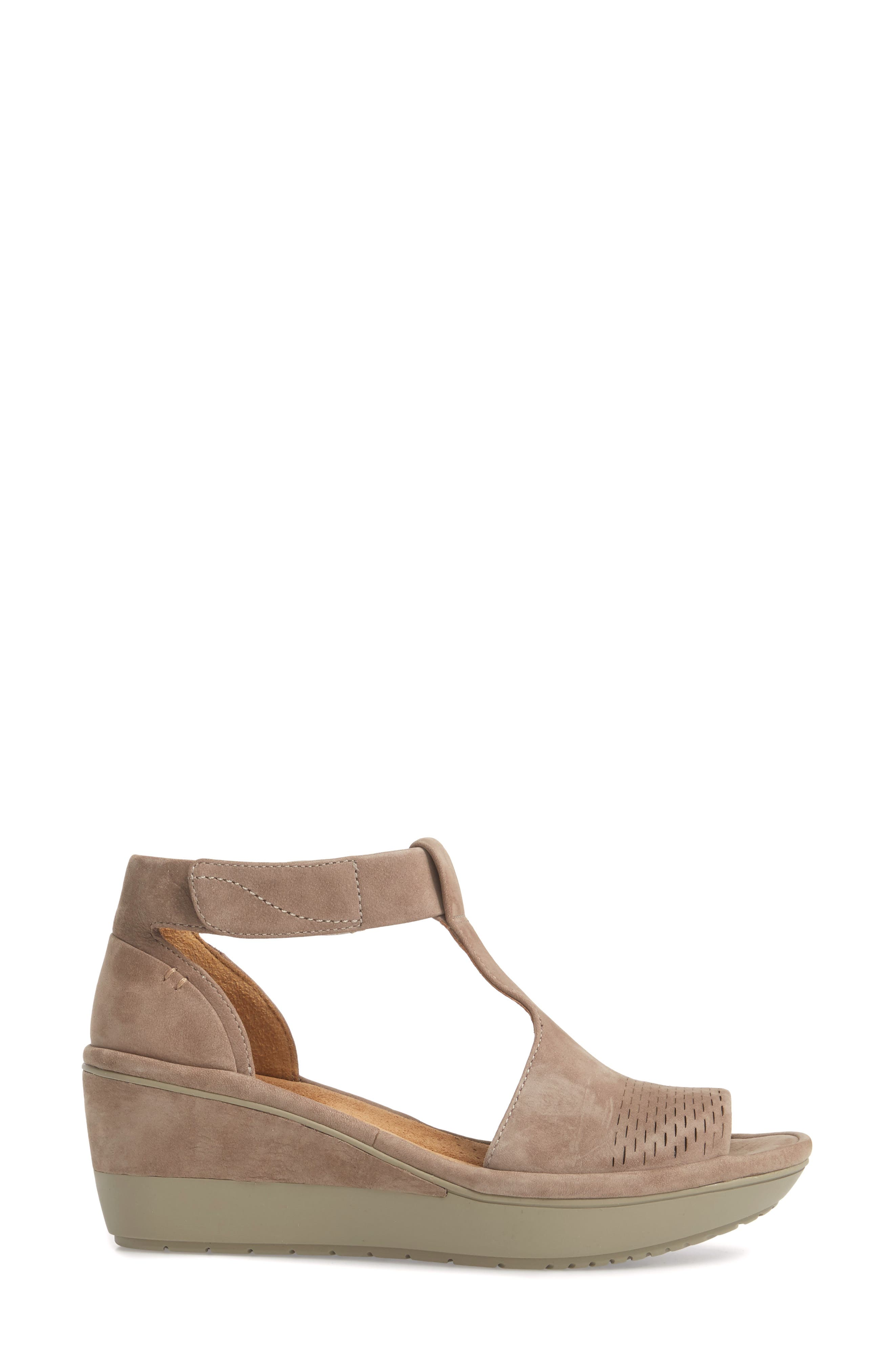 Wynnmere Avah T-Strap Wedge Sandal,                             Alternate thumbnail 3, color,                             WARM GREY NUBUCK