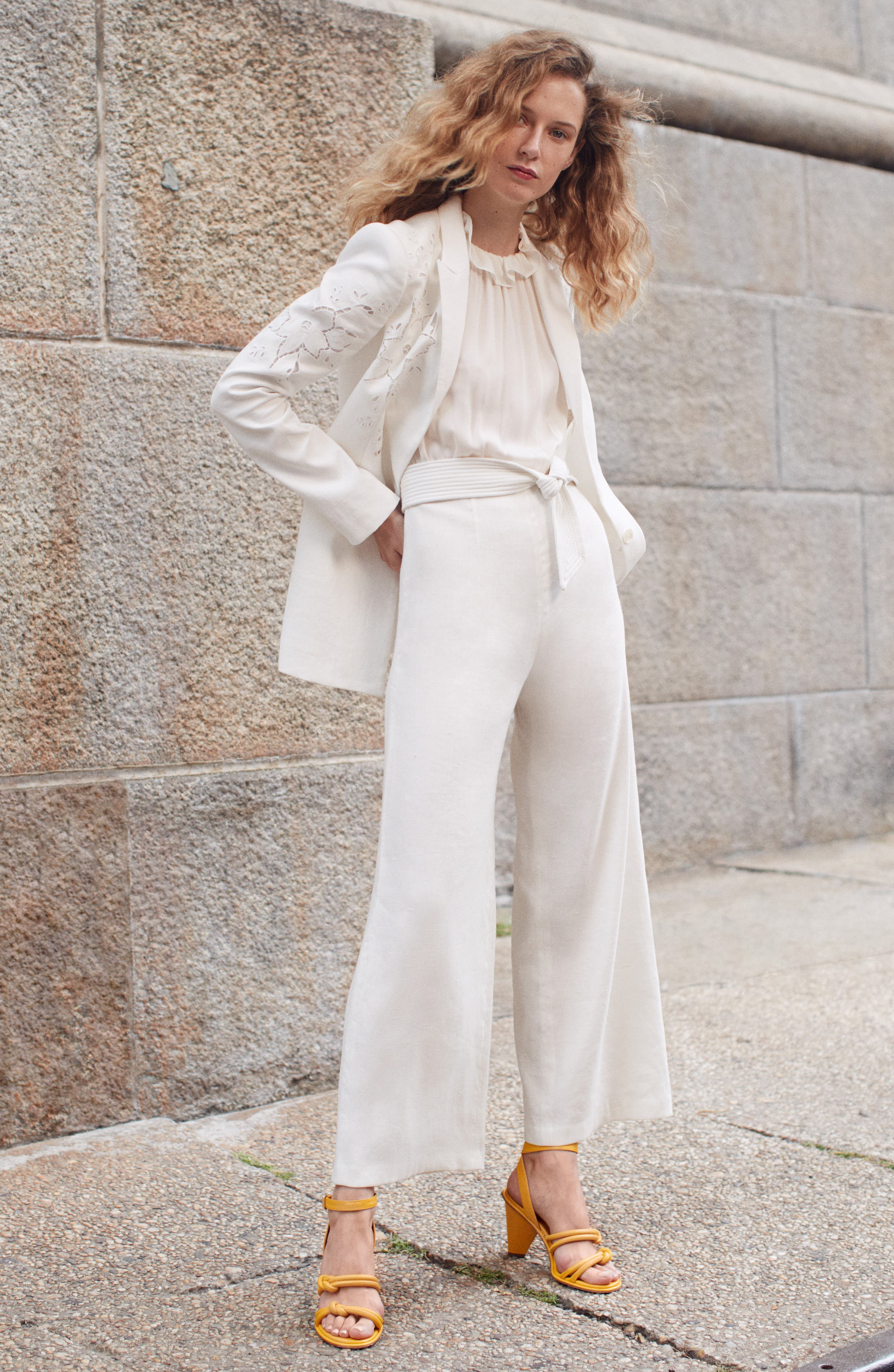 TAILORED BY REBECCA TAYLOR,                             Eyelet Embroidery Linen Blend Blazer,                             Alternate thumbnail 8, color,                             SNOW