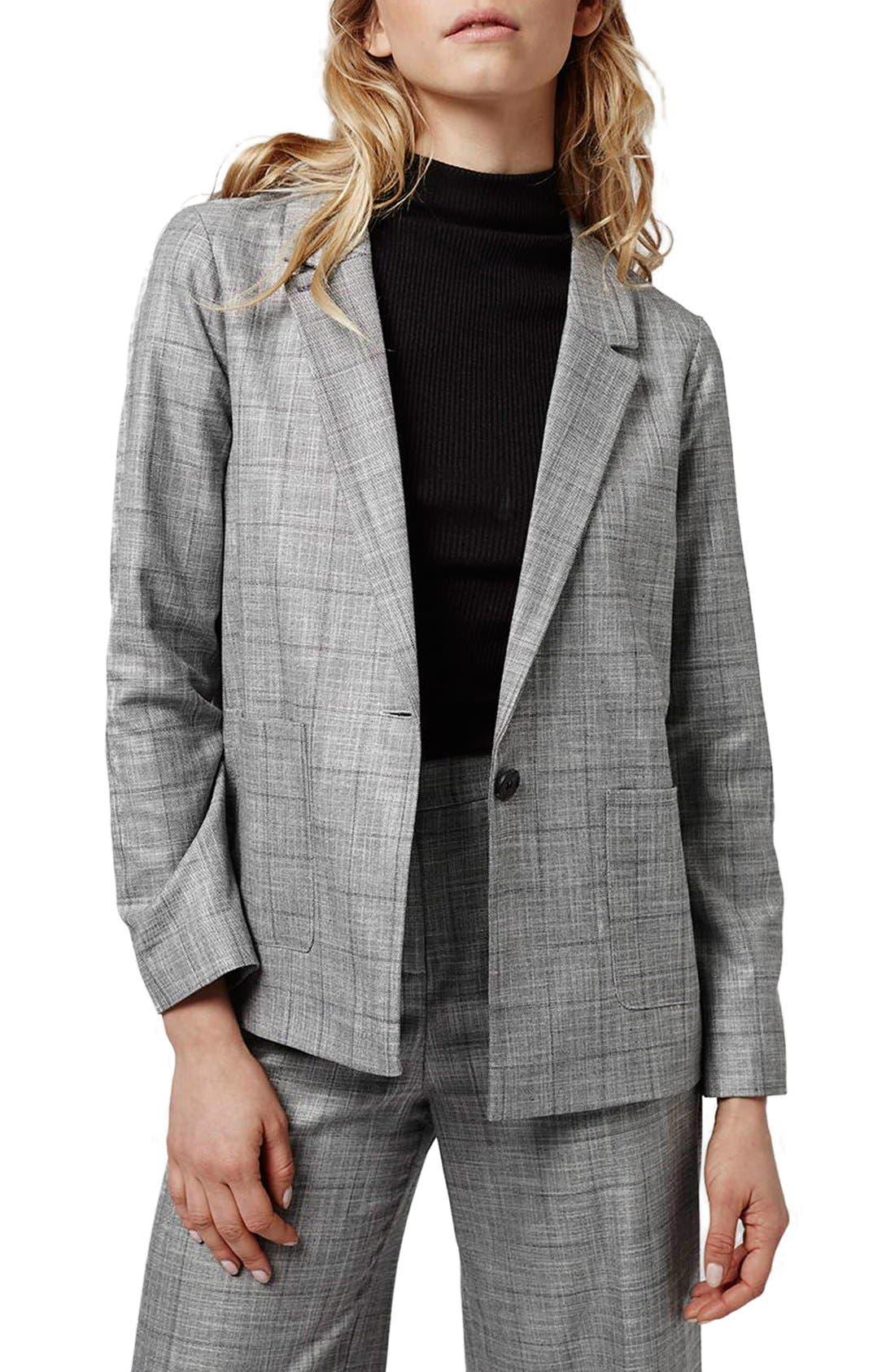 TOPSHOP,                             'Check Tonic' One-Button Suit Blazer,                             Main thumbnail 1, color,                             020