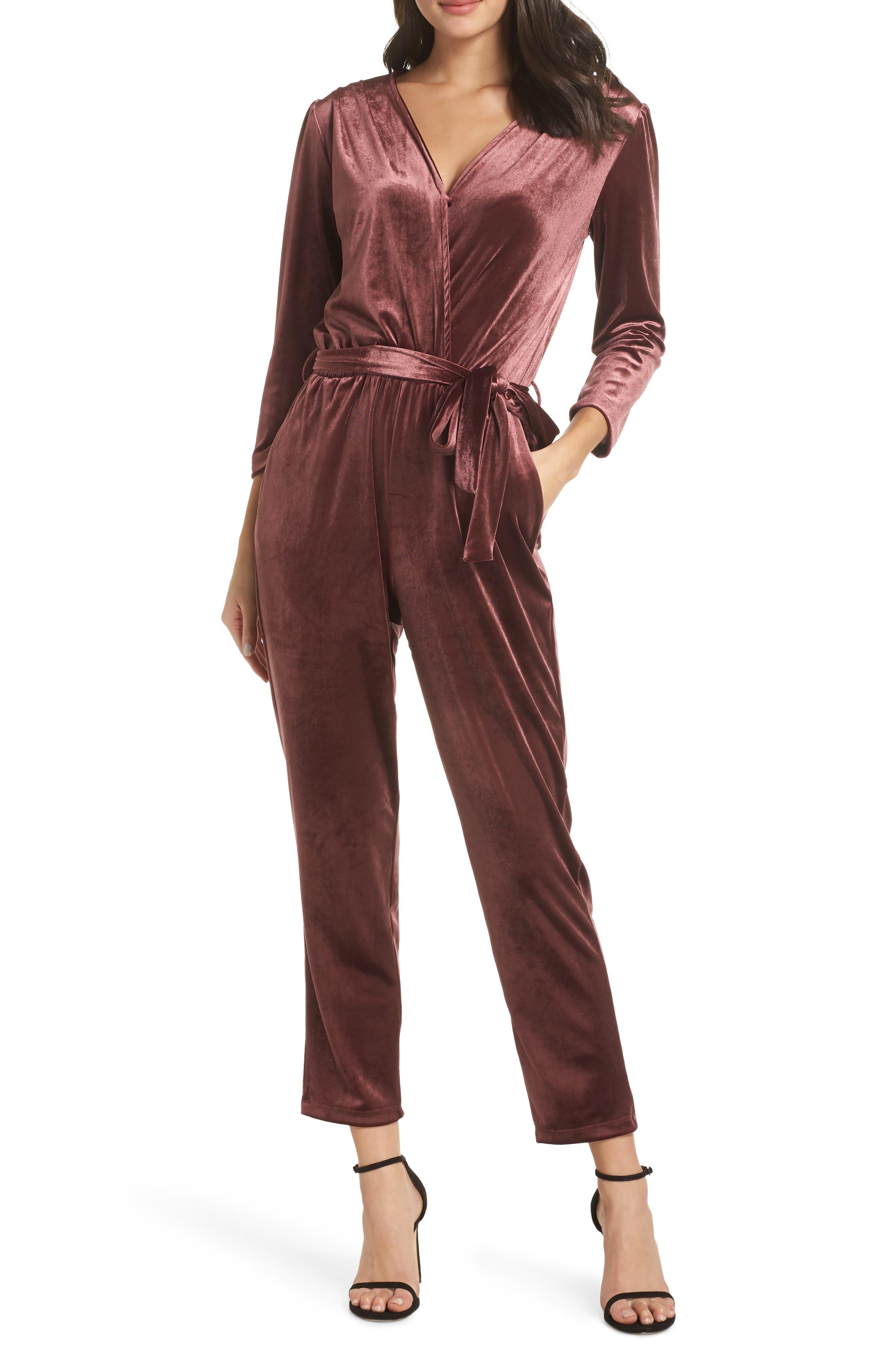Velvet Jumpsuit,                             Main thumbnail 1, color,                             BERRY