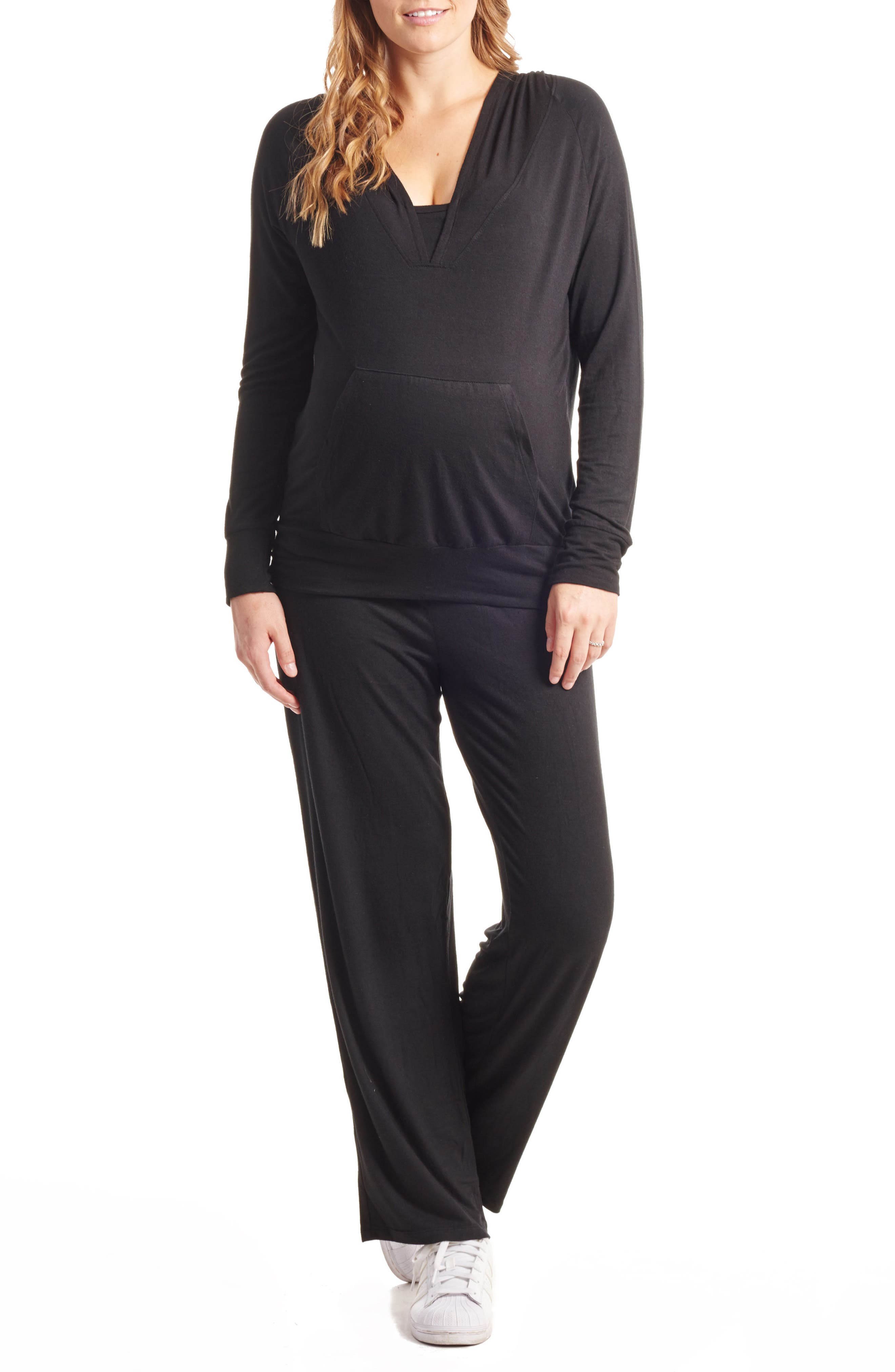 Irene Maternity/Nursing Hoodie & Pants Set,                             Main thumbnail 1, color,                             BLACK