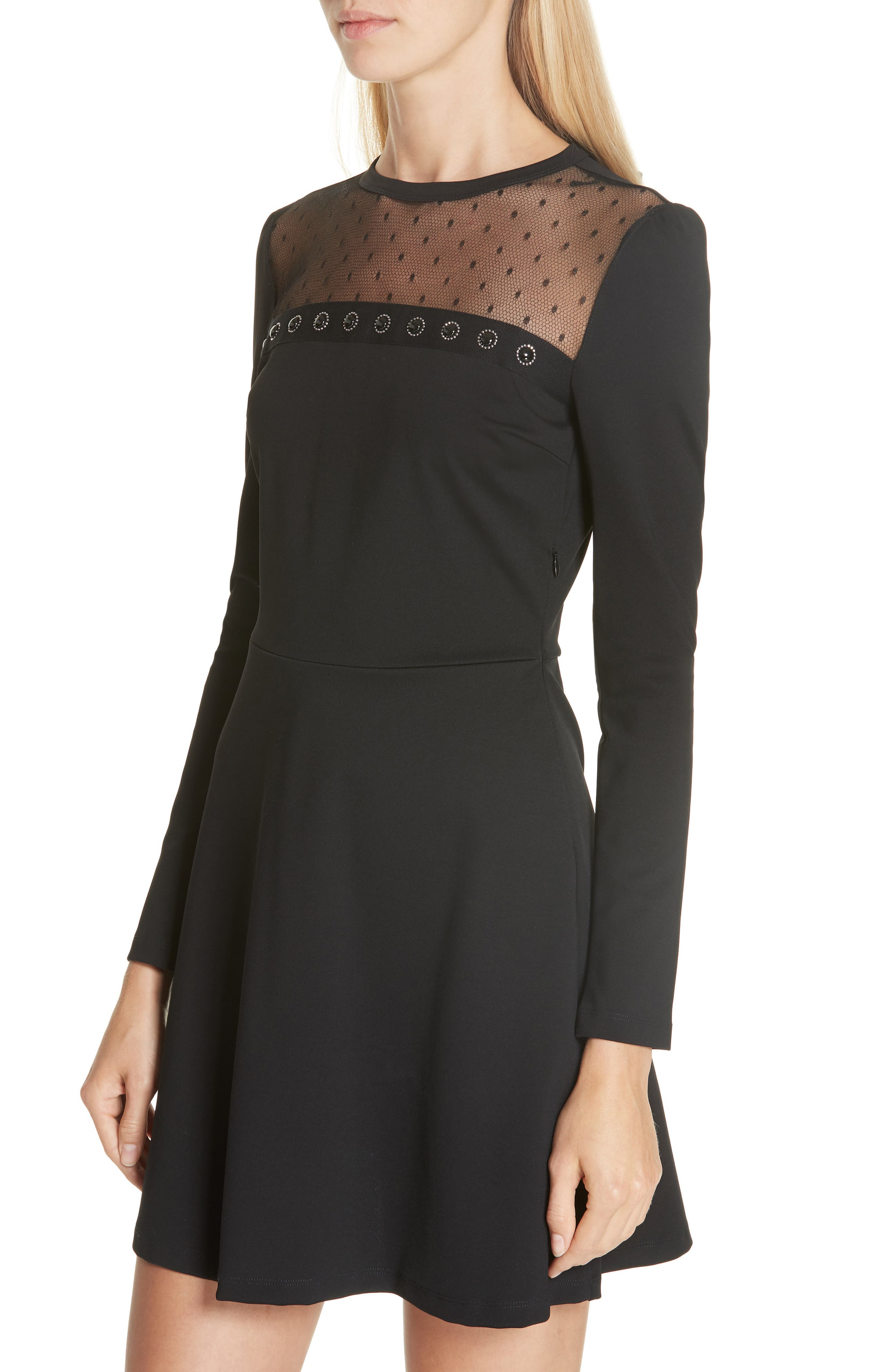 Point d'Esprit Yoke Dress,                             Alternate thumbnail 4, color,                             BLACK