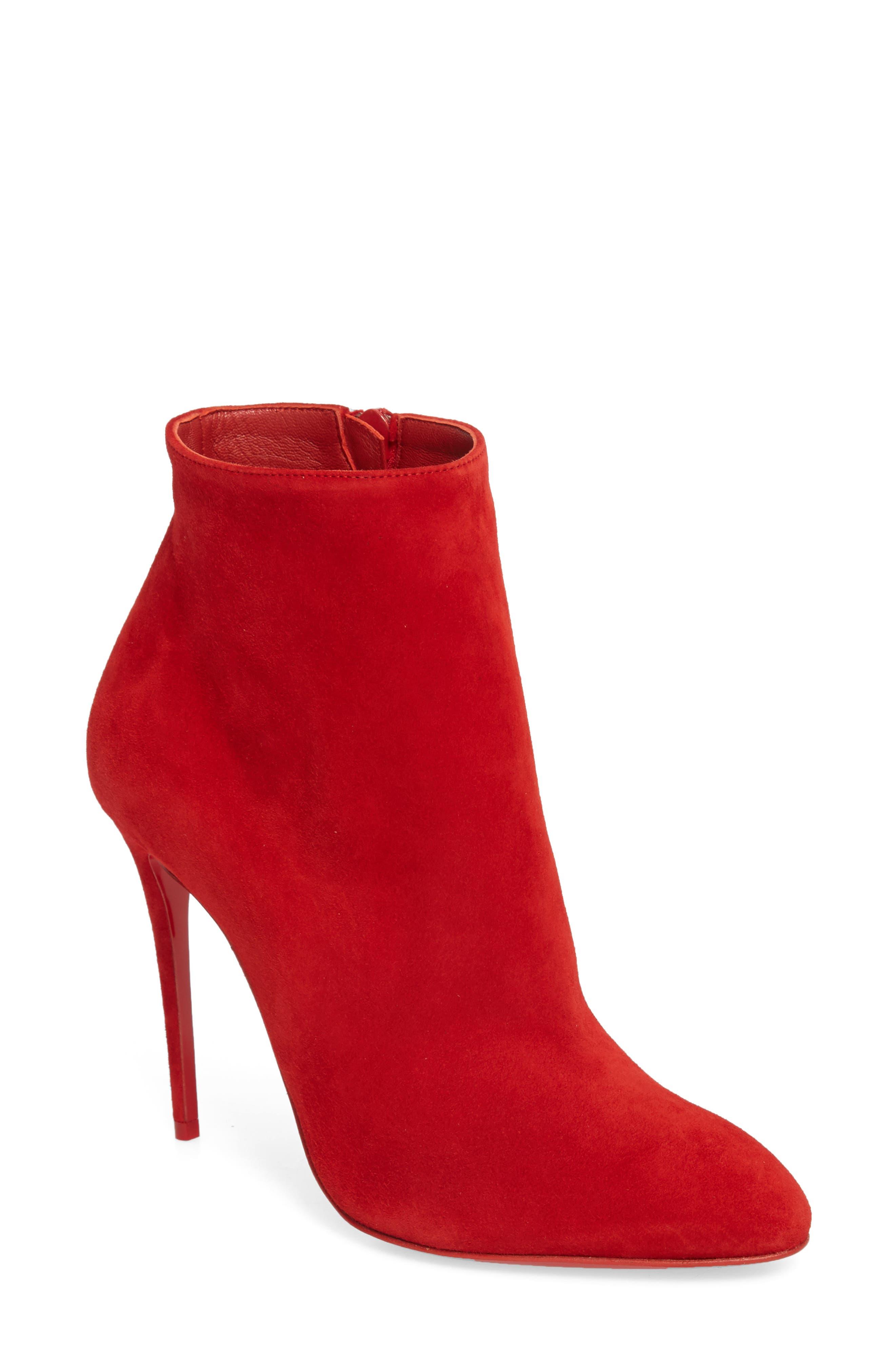 Eloise Almond Toe Bootie,                         Main,                         color, LOUBI RED