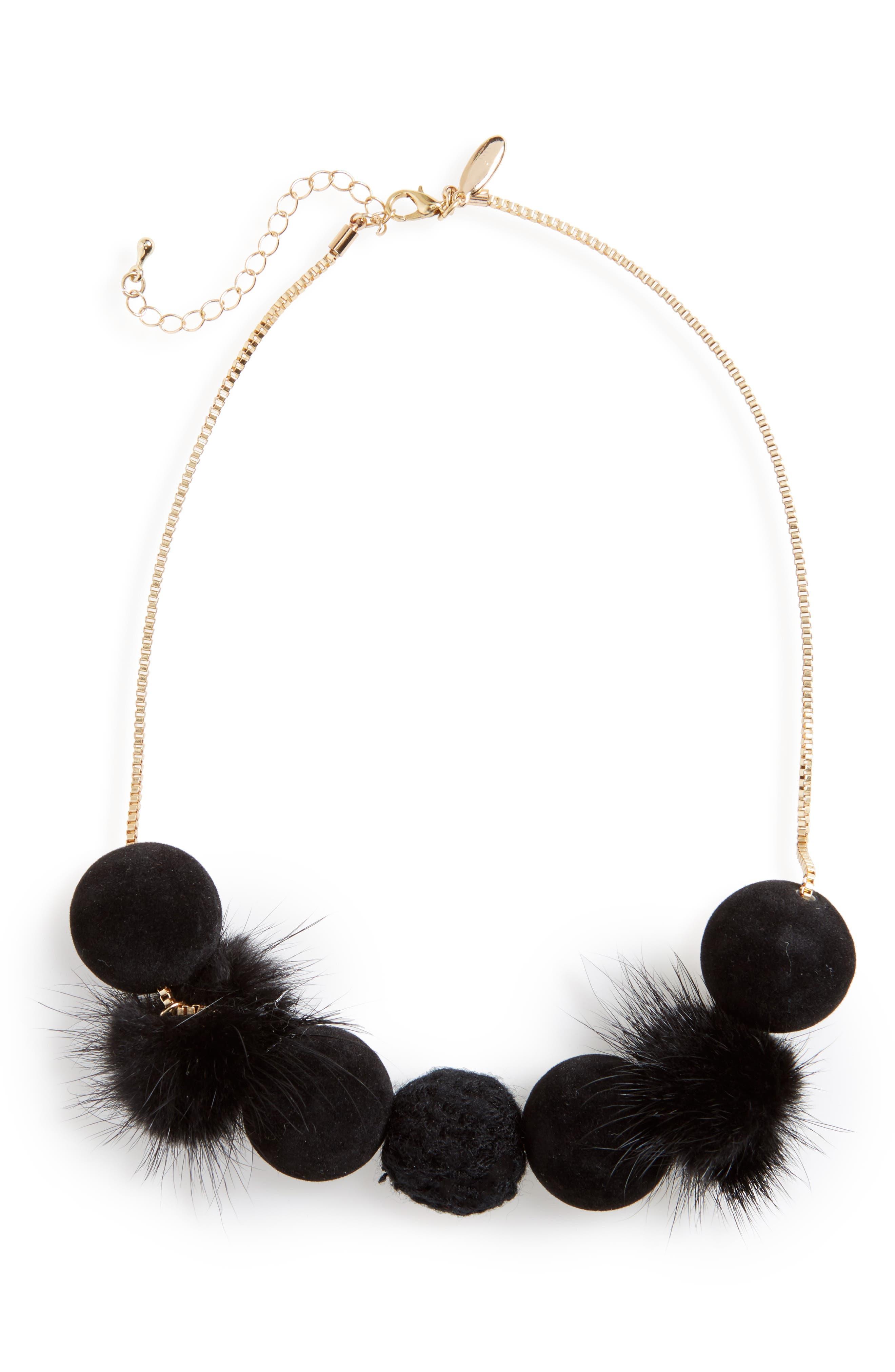 Fuzzy Pompom Necklace,                         Main,                         color,