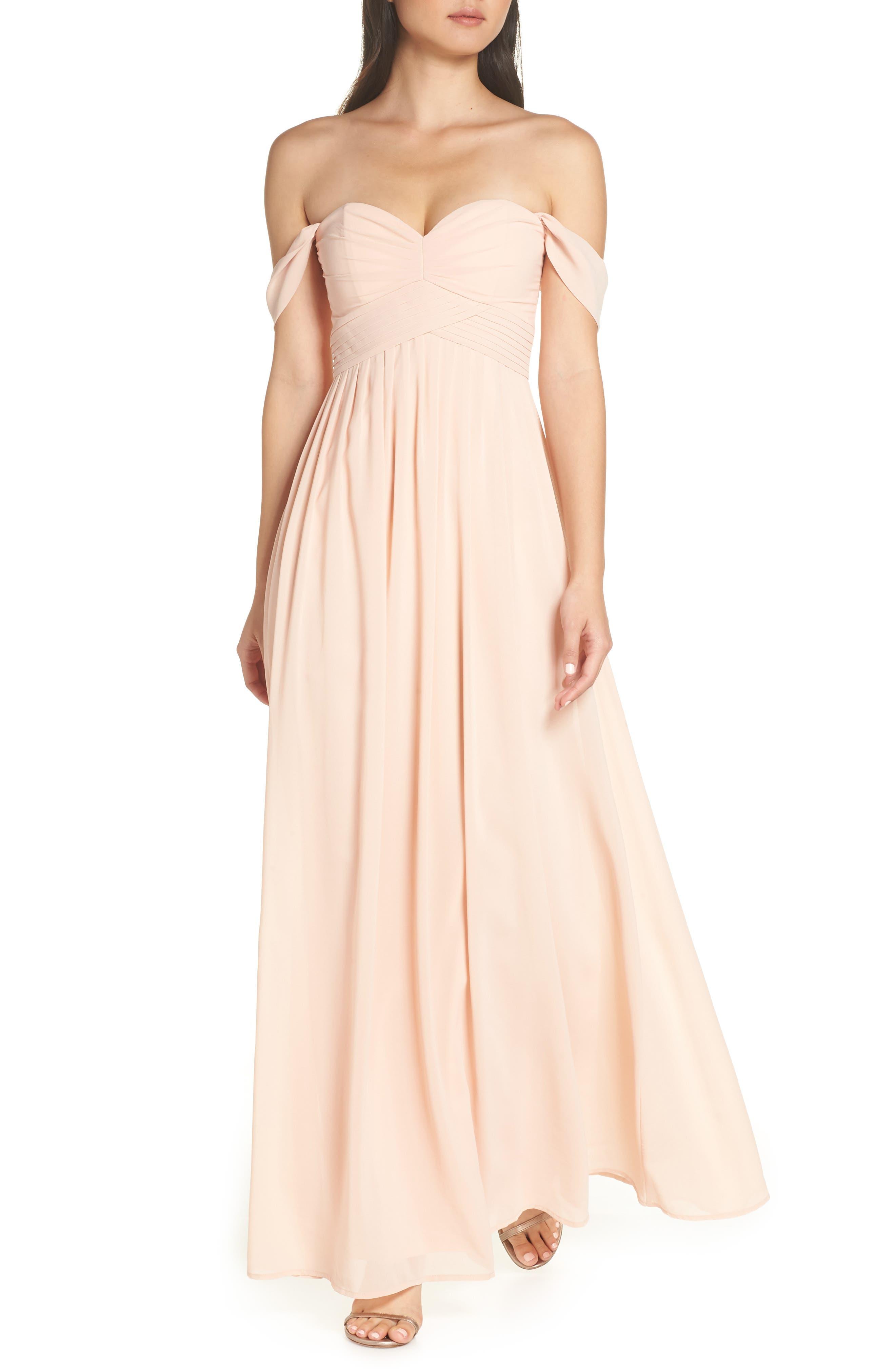 Lulus Convertible Neckline Chiffon Gown, Pink