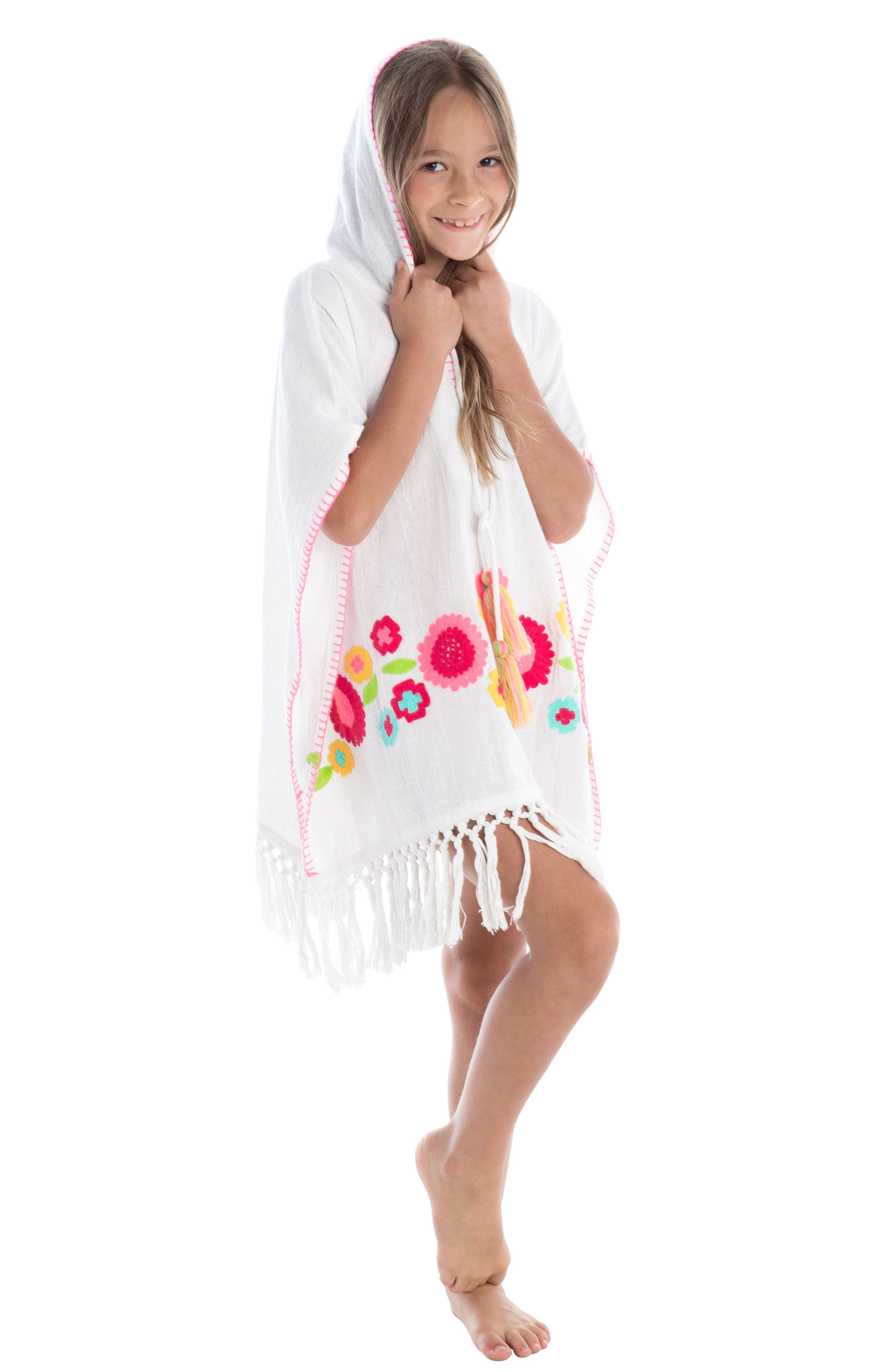 Rambagh Hooded Cover-Up Caftan,                             Alternate thumbnail 3, color,                             100