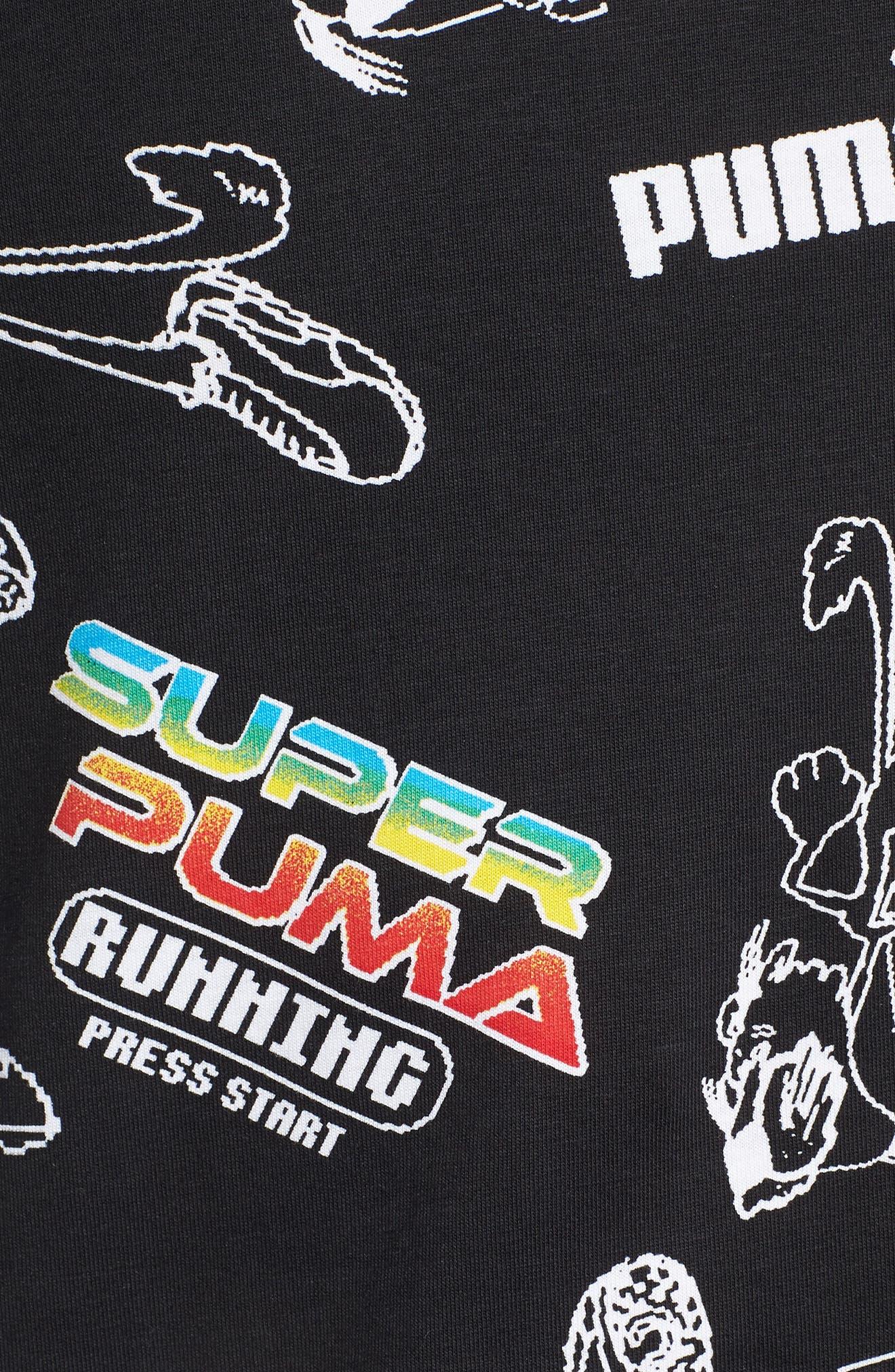 Super PUMA Regular Fit T-Shirt,                             Alternate thumbnail 5, color,                             COTTON BLACK