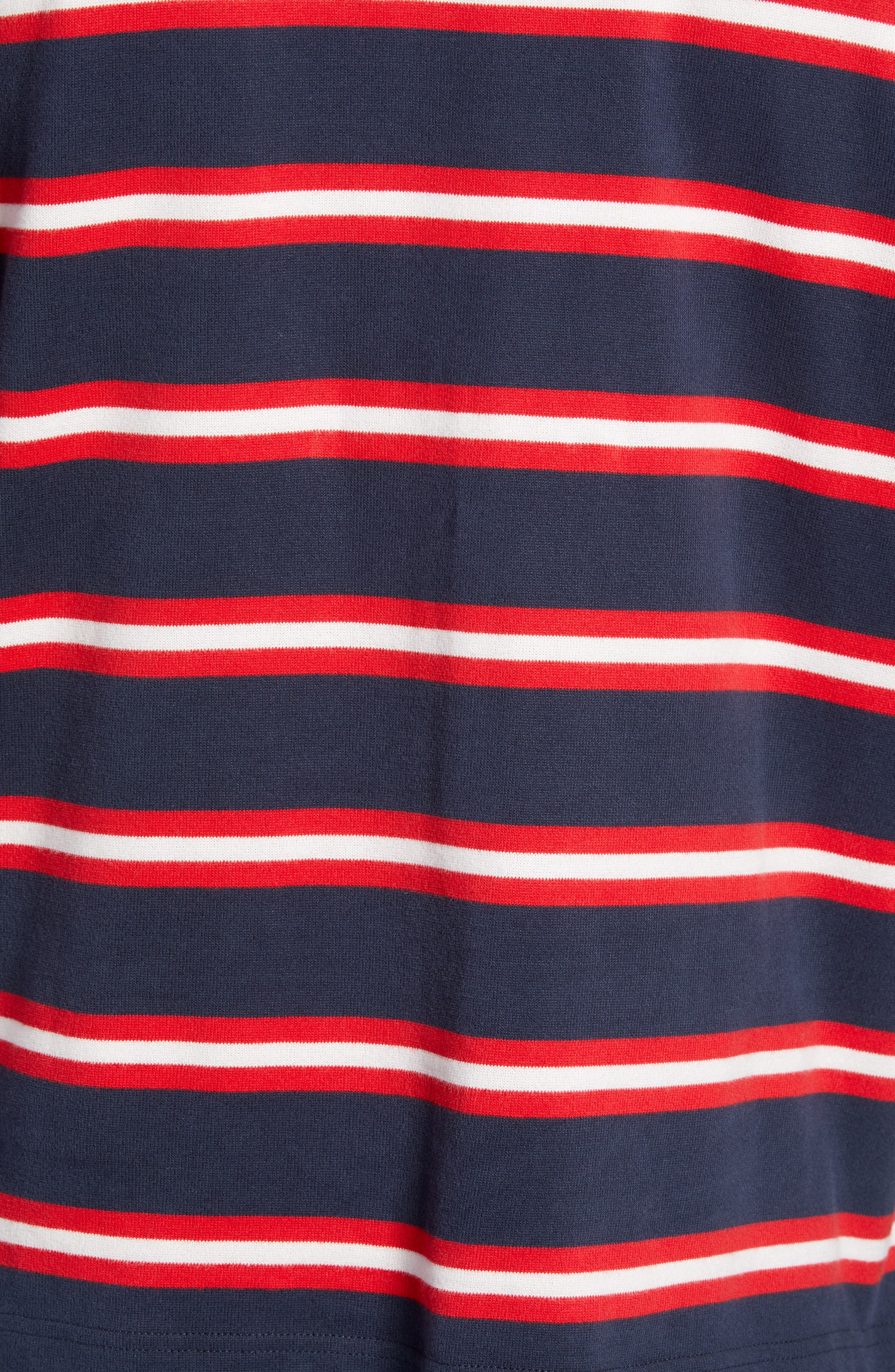 Crest Stripe Rugby Polo,                             Alternate thumbnail 5, color,                             DARK SAPPHIRE / MULTI