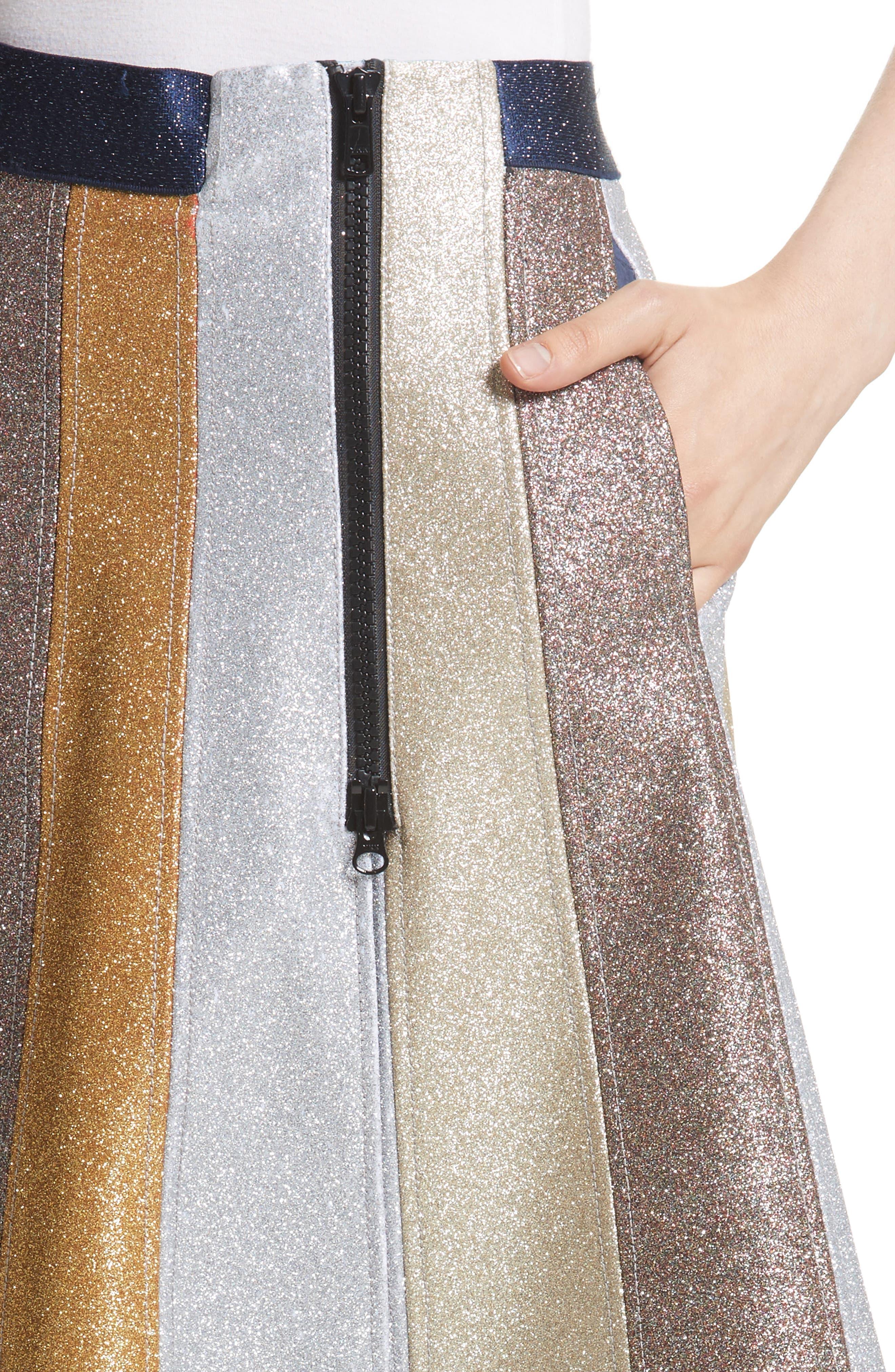 Glitter Panel A-Line Skirt,                             Alternate thumbnail 4, color,                             710