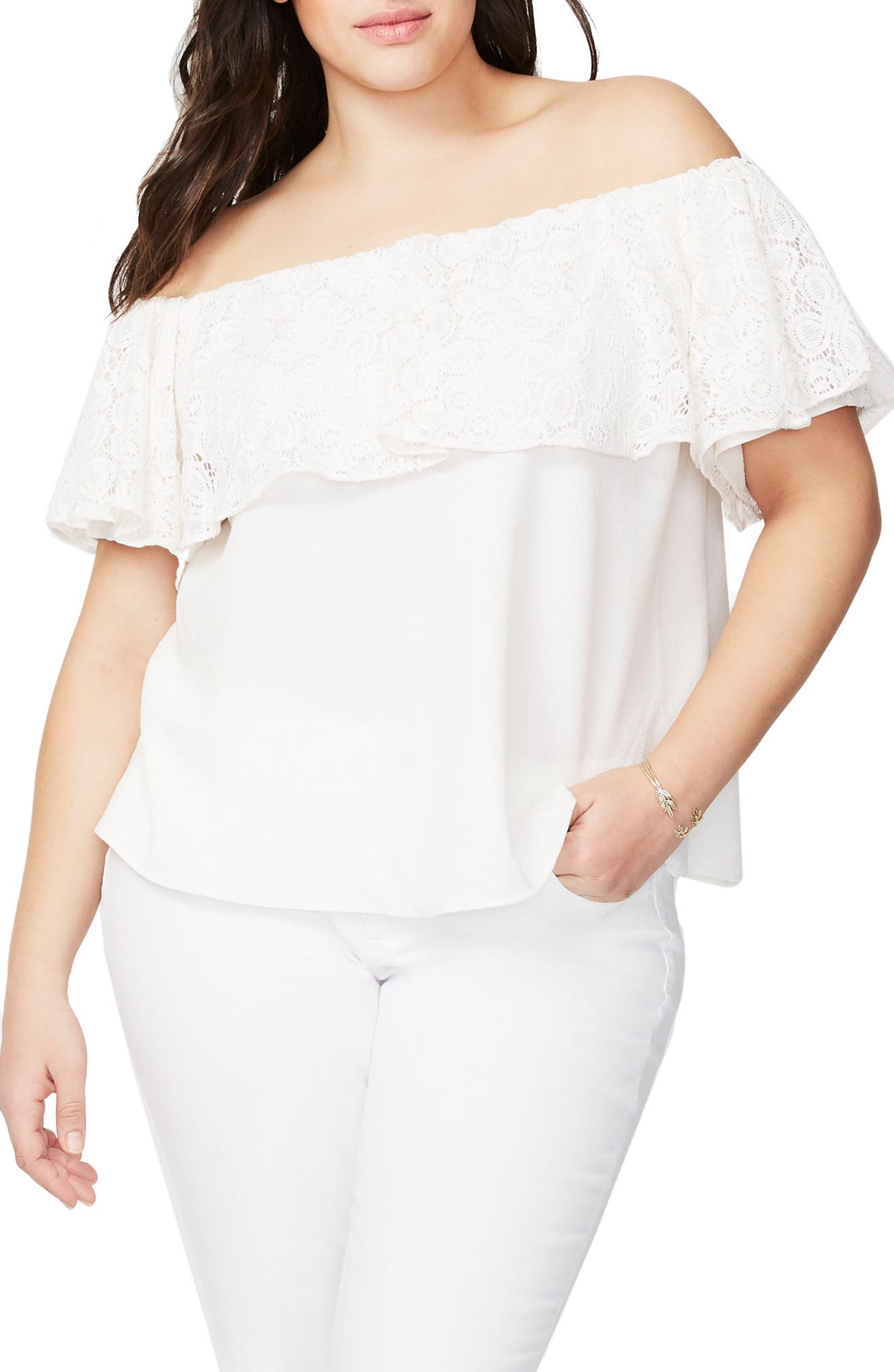 RACHEL Rachel Roy Lace Ruffle Off the Shoulder Top,                             Main thumbnail 2, color,