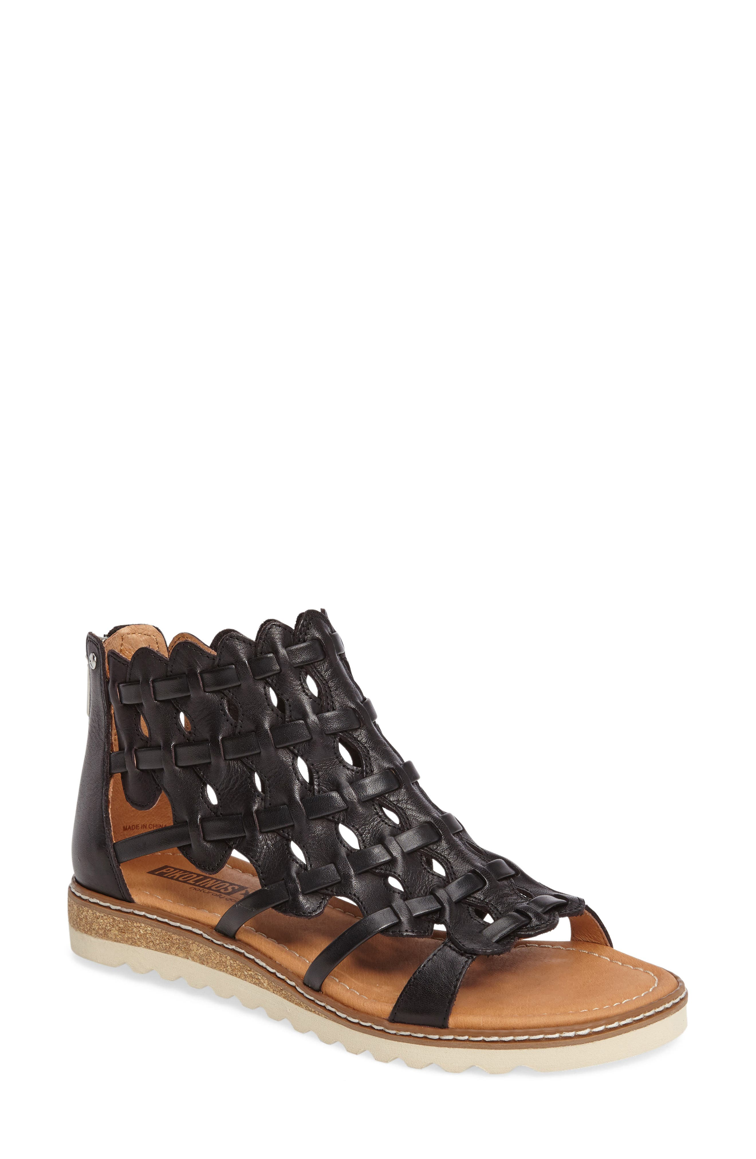 Alcudia Sandal,                         Main,                         color, BLACK LEATHER