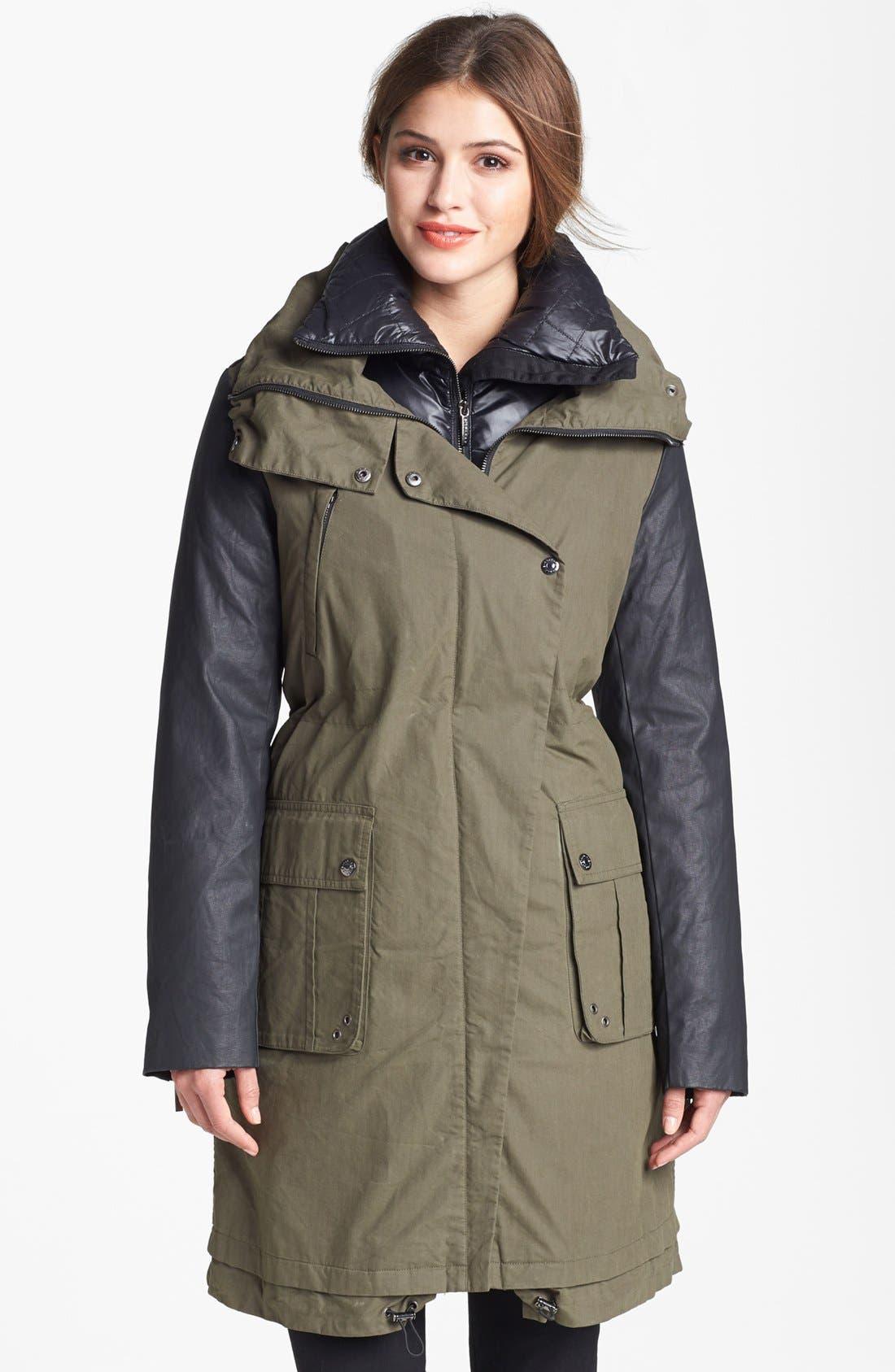 ASHLEY B Coated Sleeve Parka with Down Jacket, Main, color, 303