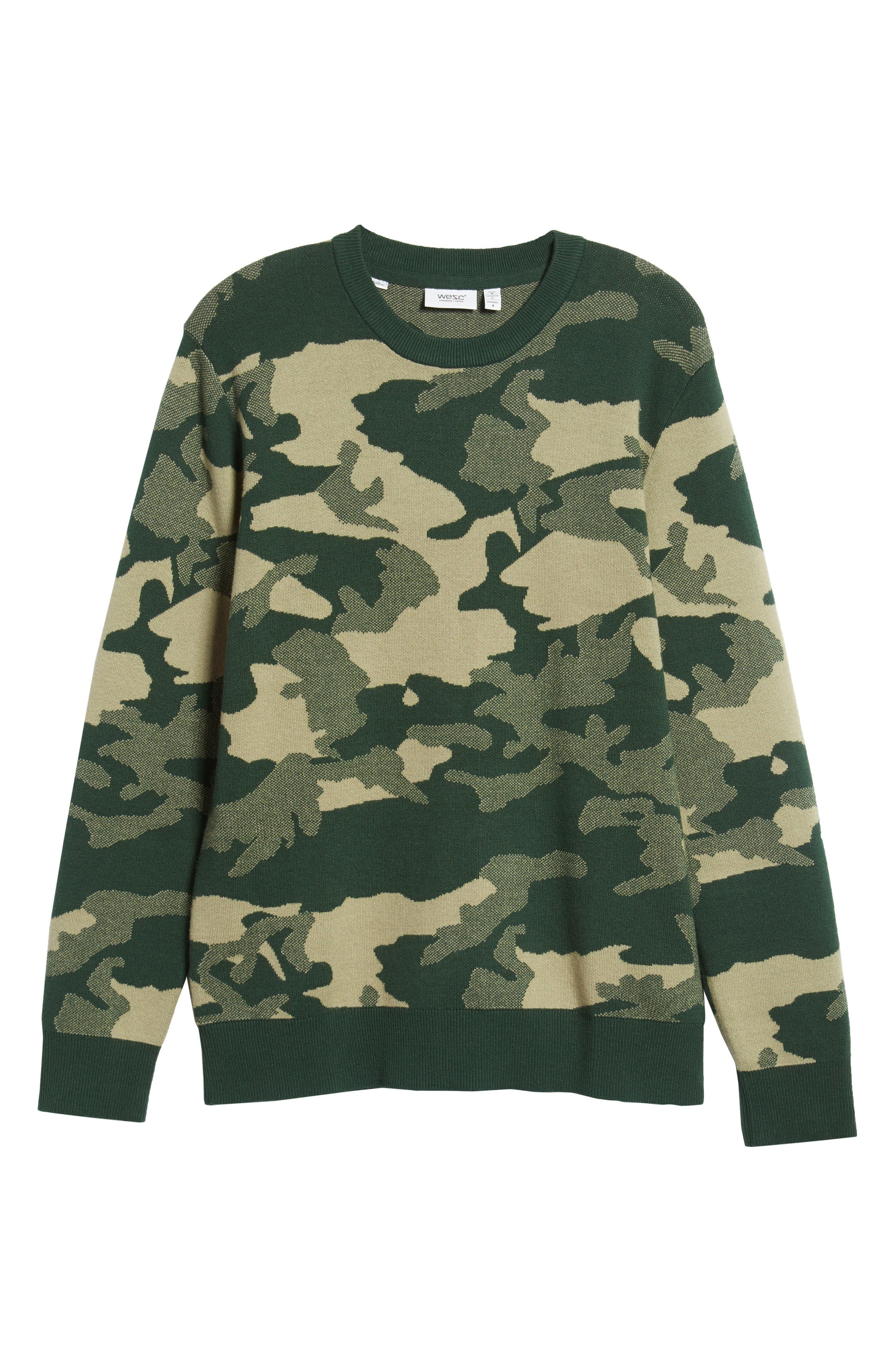 Anwar Camo Crewneck Sweater,                             Alternate thumbnail 6, color,                             PEAKS WOODLAND