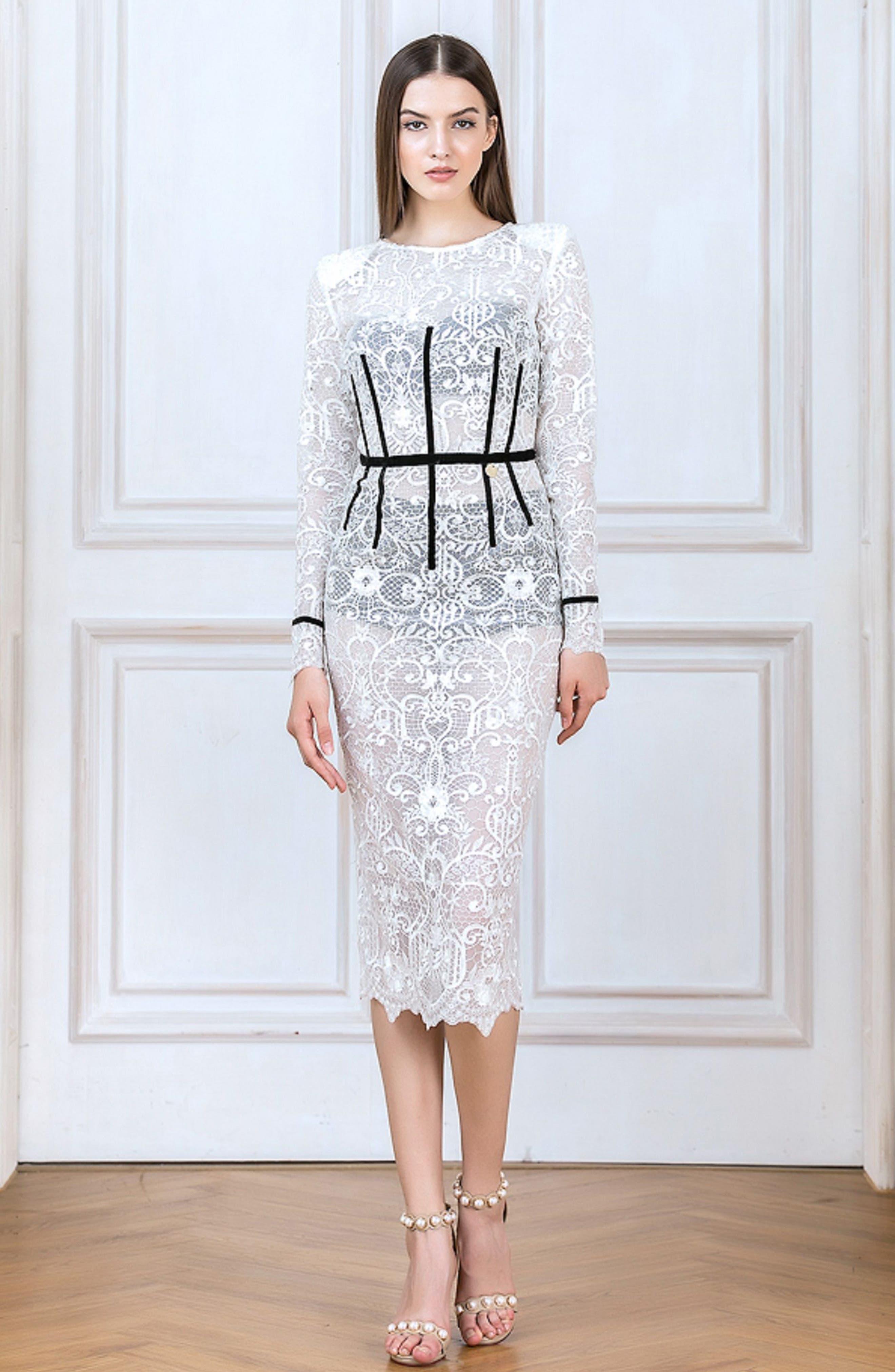 Venice Derby Lace Pencil Dress,                             Alternate thumbnail 7, color,                             100