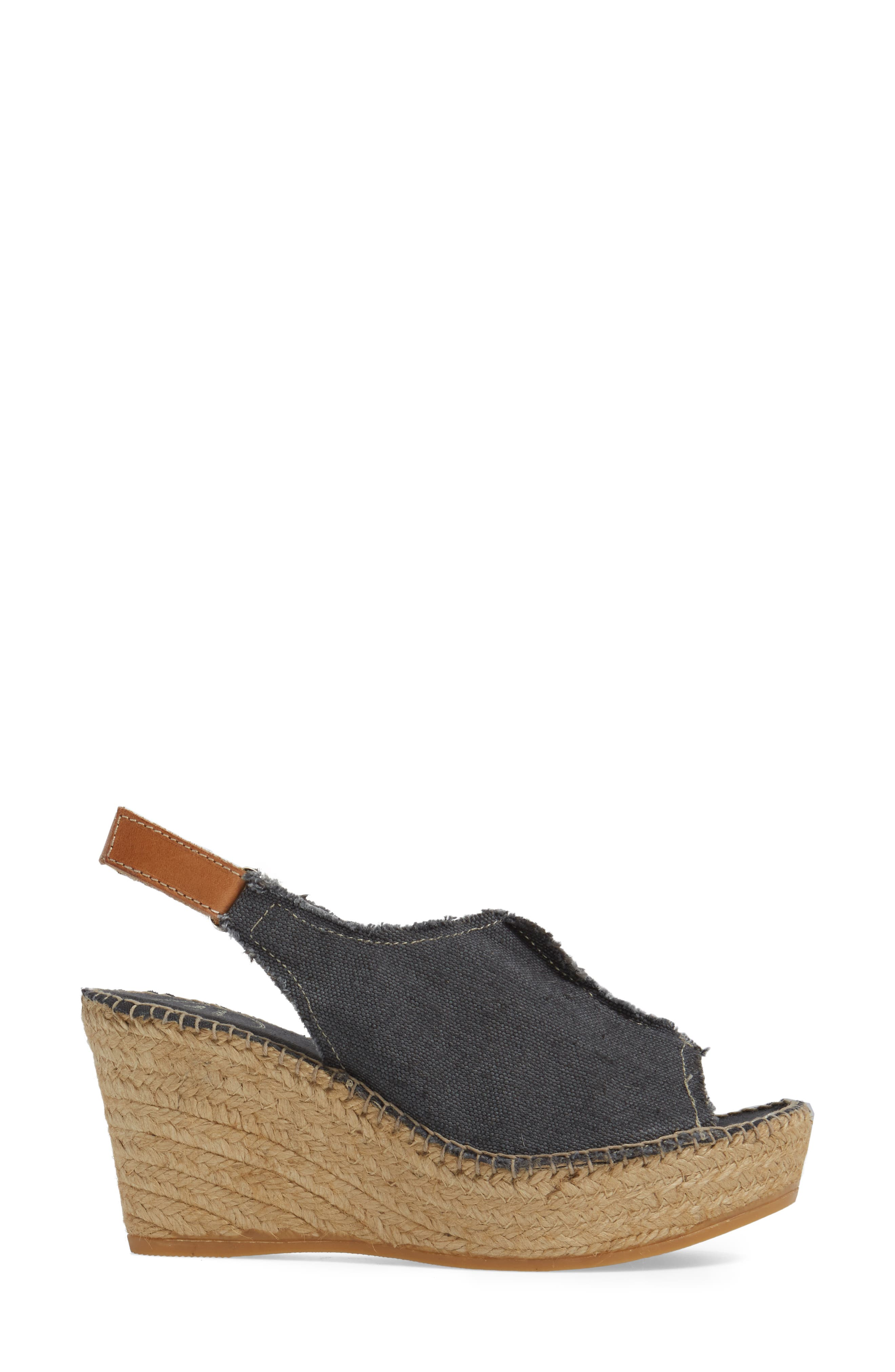 'Lugano' Espadrille Wedge Sandal,                             Alternate thumbnail 3, color,                             BLACK FABRIC