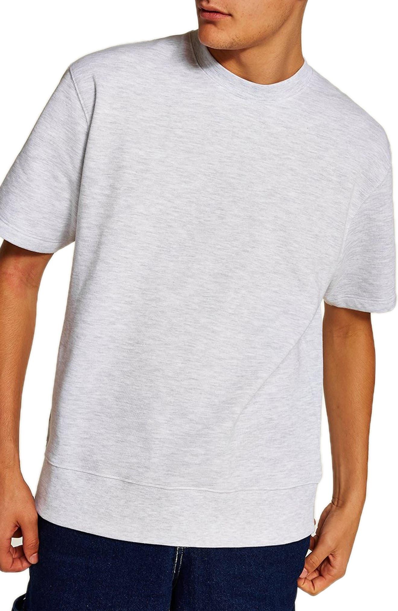 Short Sleeve Crewneck Sweatshirt,                             Main thumbnail 1, color,                             LIGHT GREY